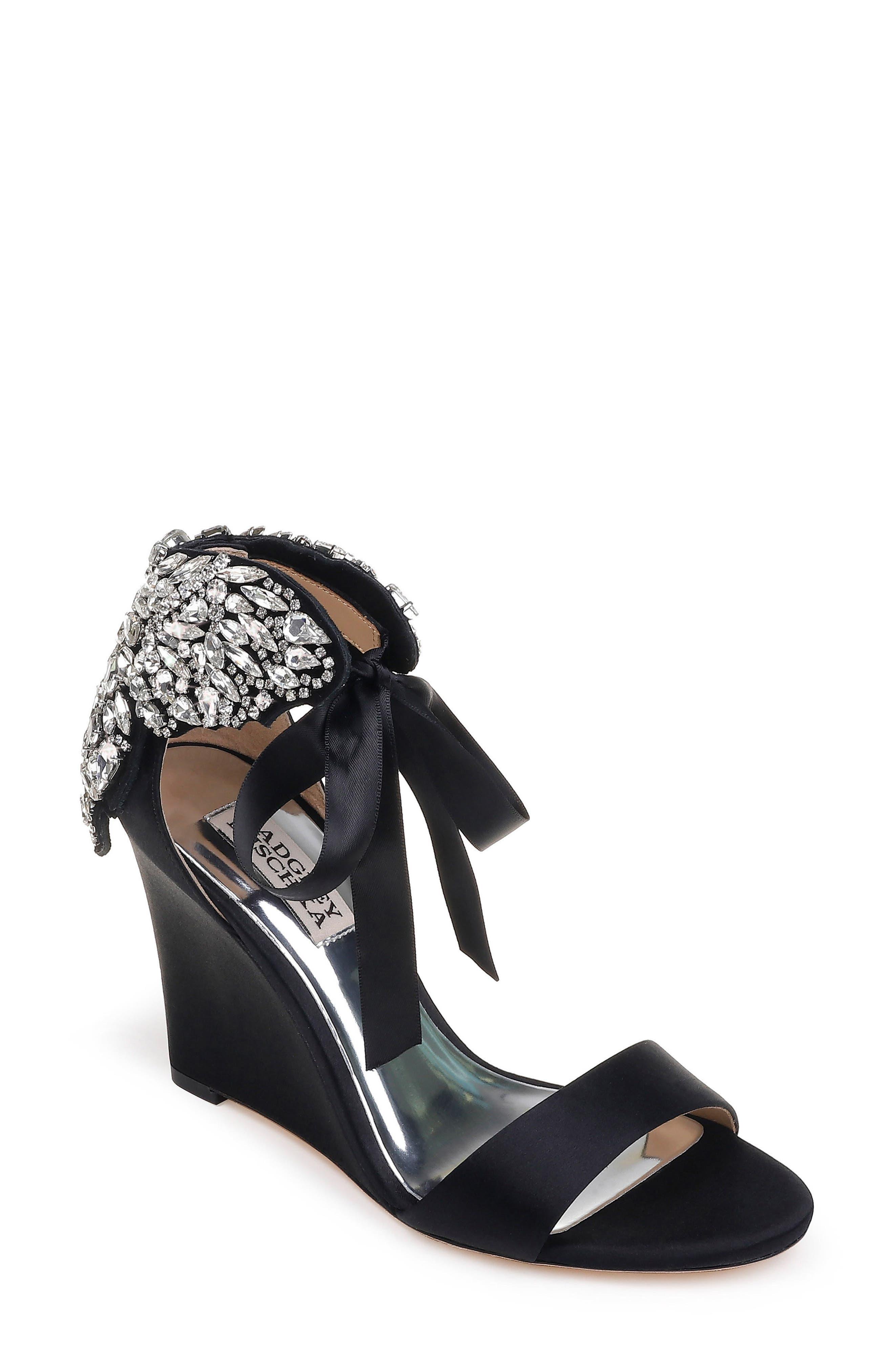 Badgley Mischka Heather Crystal Embellished Wedge, Main, color, BLACK SATIN