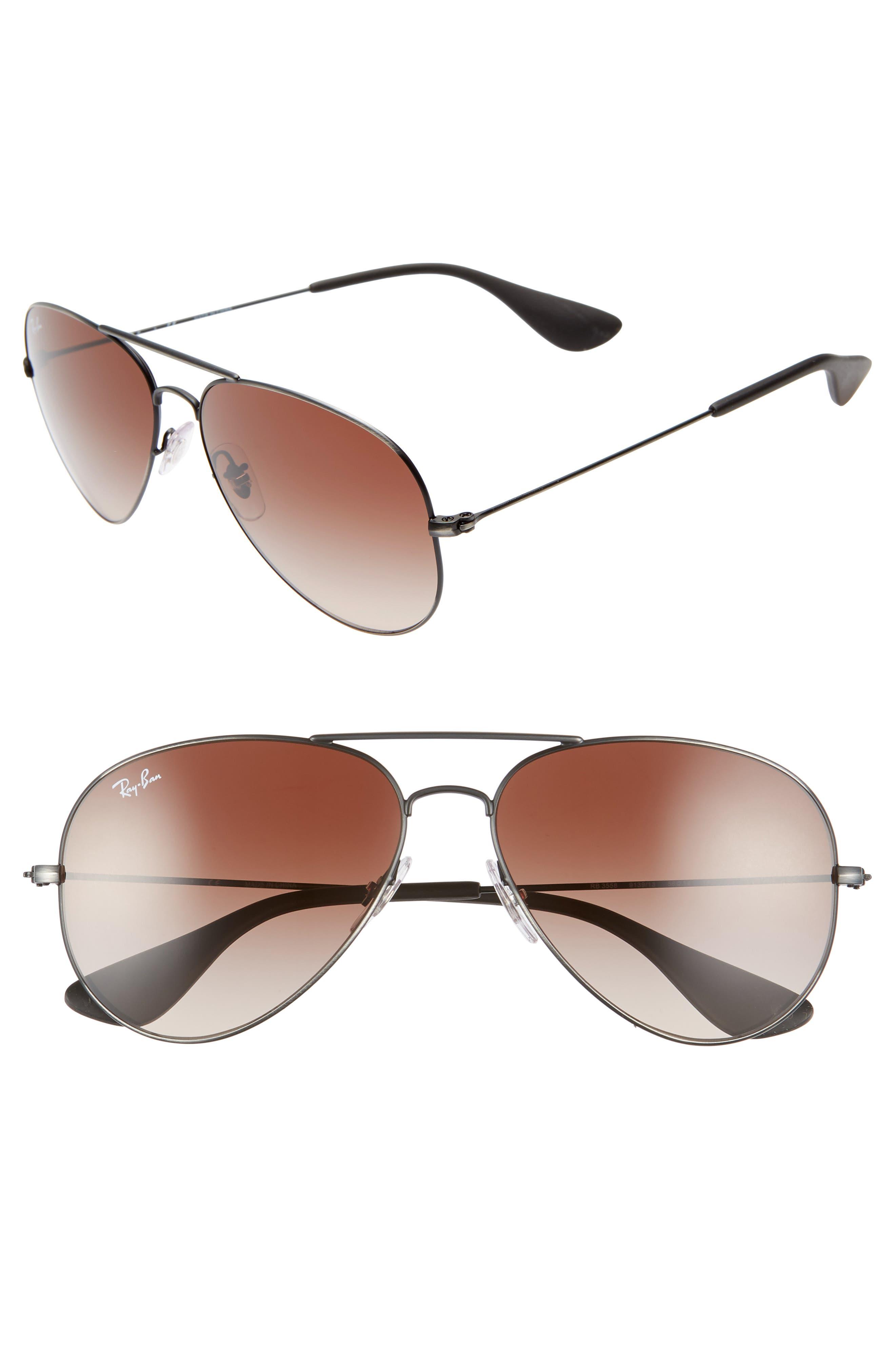 Pilot 58mm Gradient Sunglasses,                             Main thumbnail 1, color,                             MATTE BLACK
