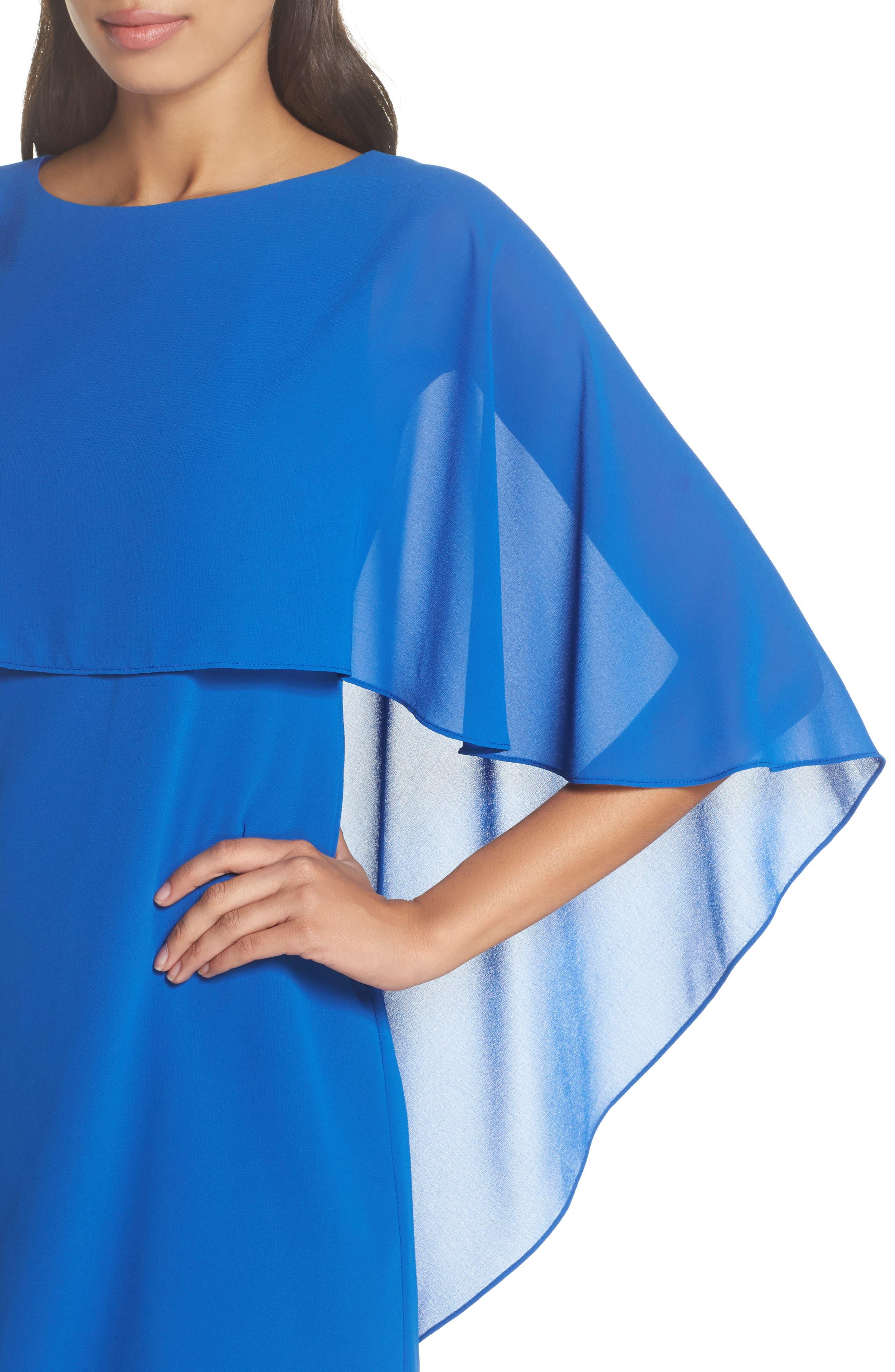 Cape Overlay Dress,                             Alternate thumbnail 4, color,                             ROYAL