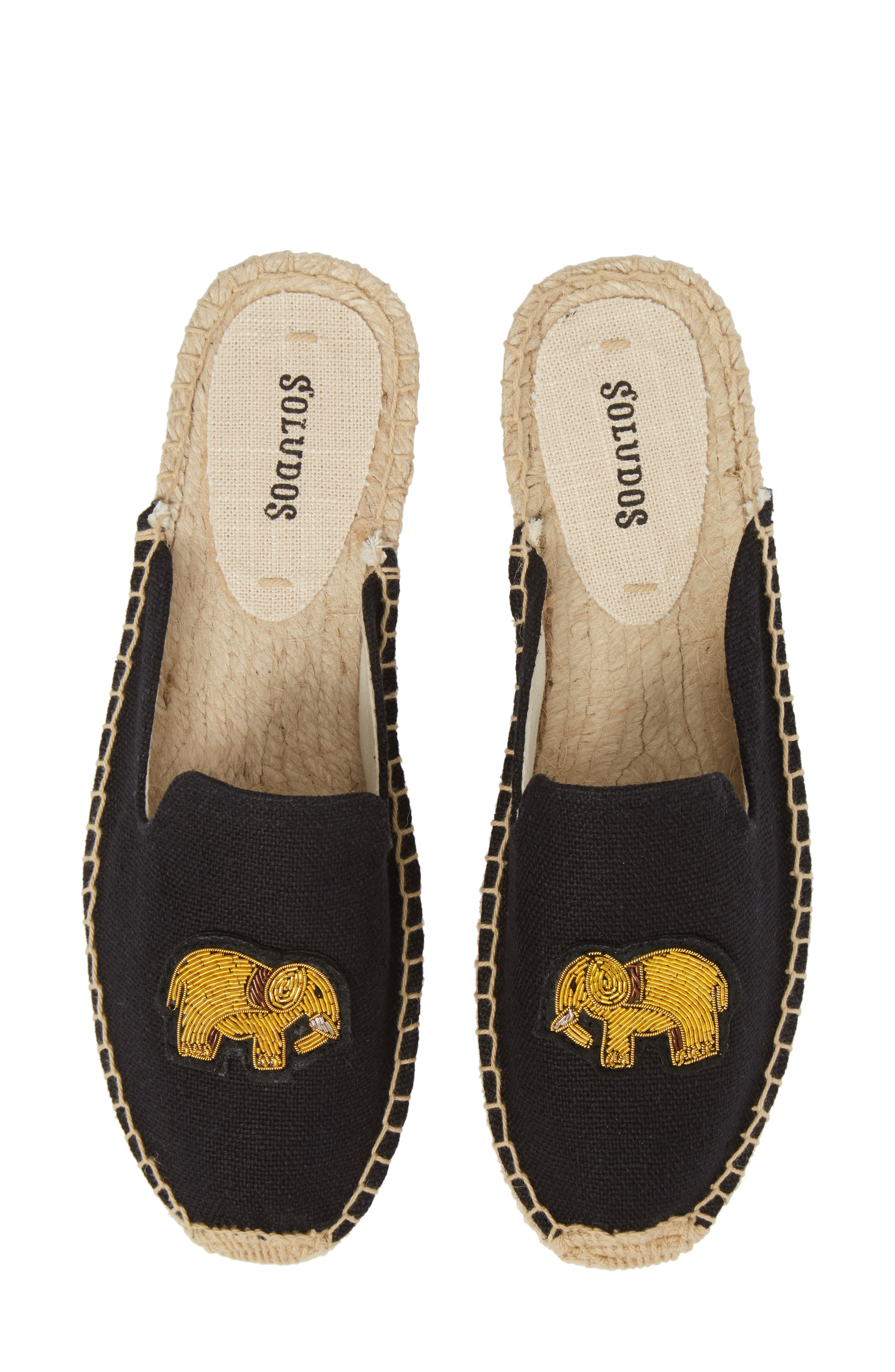 Elephant Beaded Espadrille Mule,                             Main thumbnail 1, color,                             001