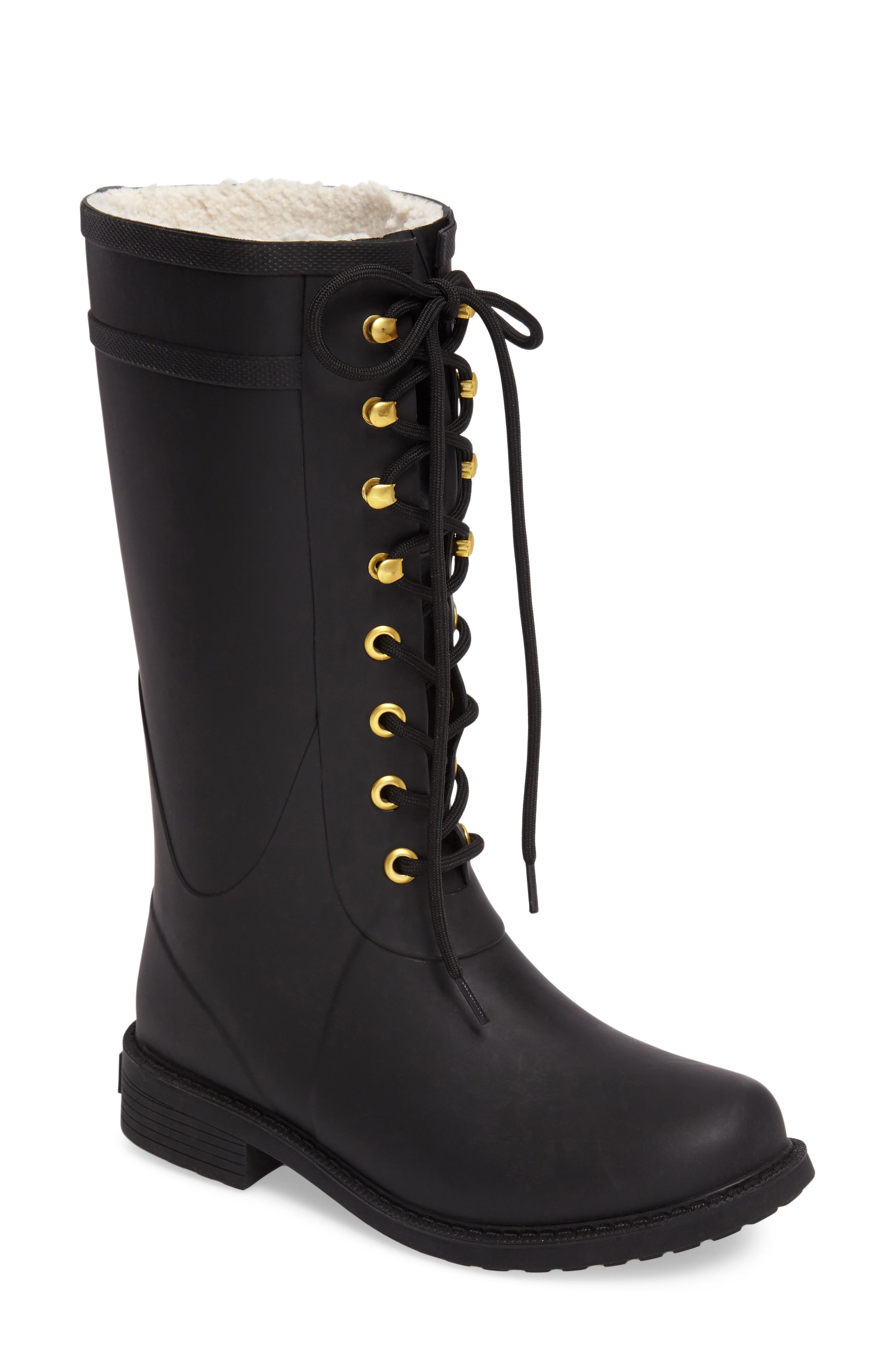 Kay Lace-Up Rain Boot,                         Main,                         color, 001