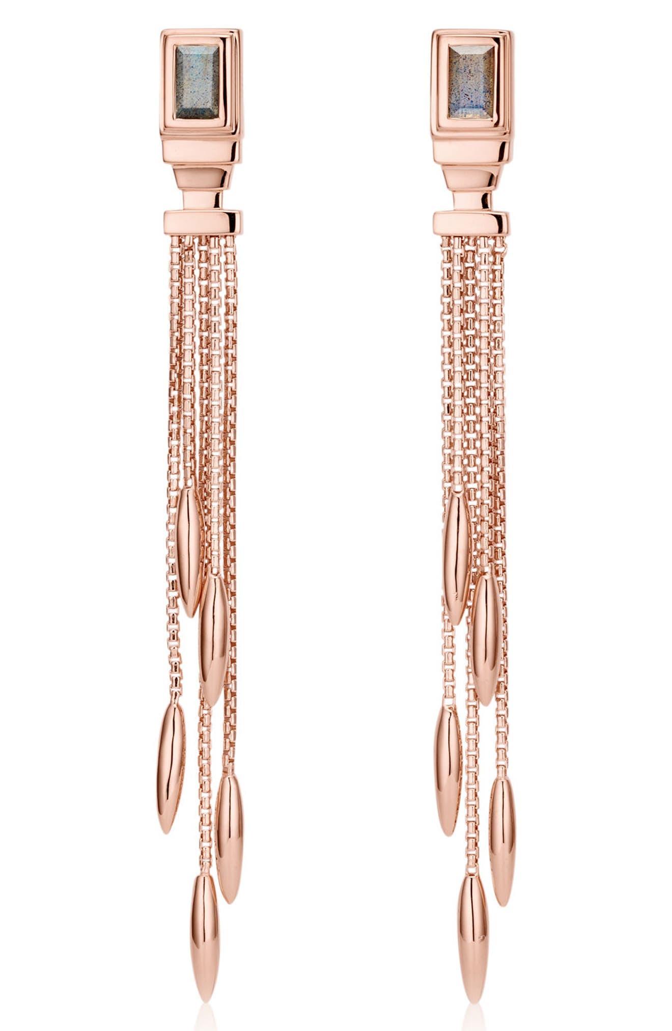 Baja Deco Fringe Earrings,                         Main,                         color, ROSE GOLD/ LABRADORITE