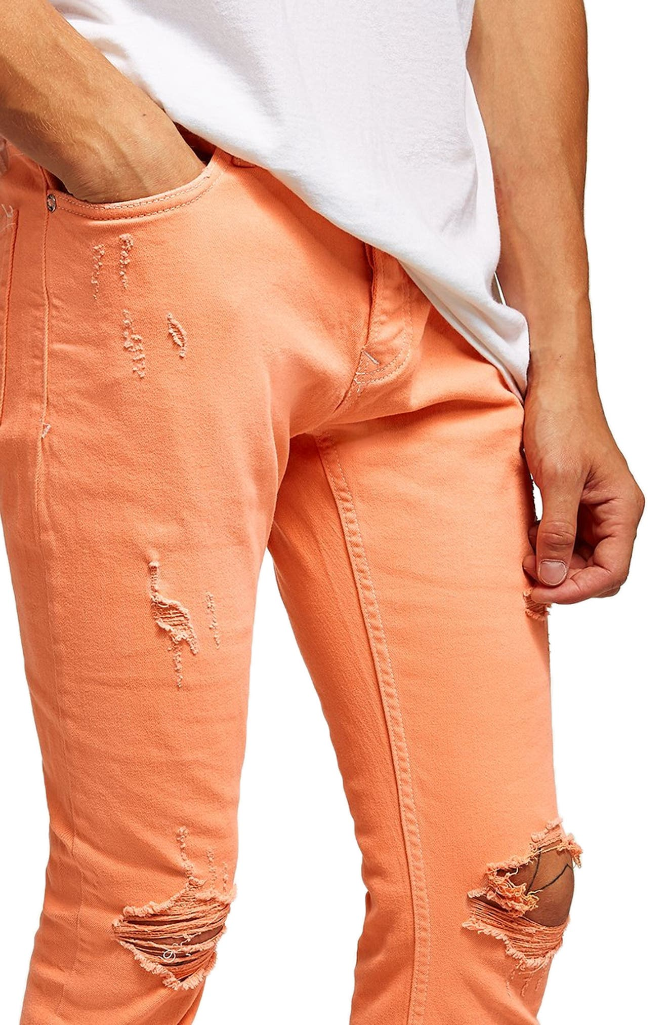 Ripped Skinny Fit Jeans,                             Alternate thumbnail 3, color,                             800