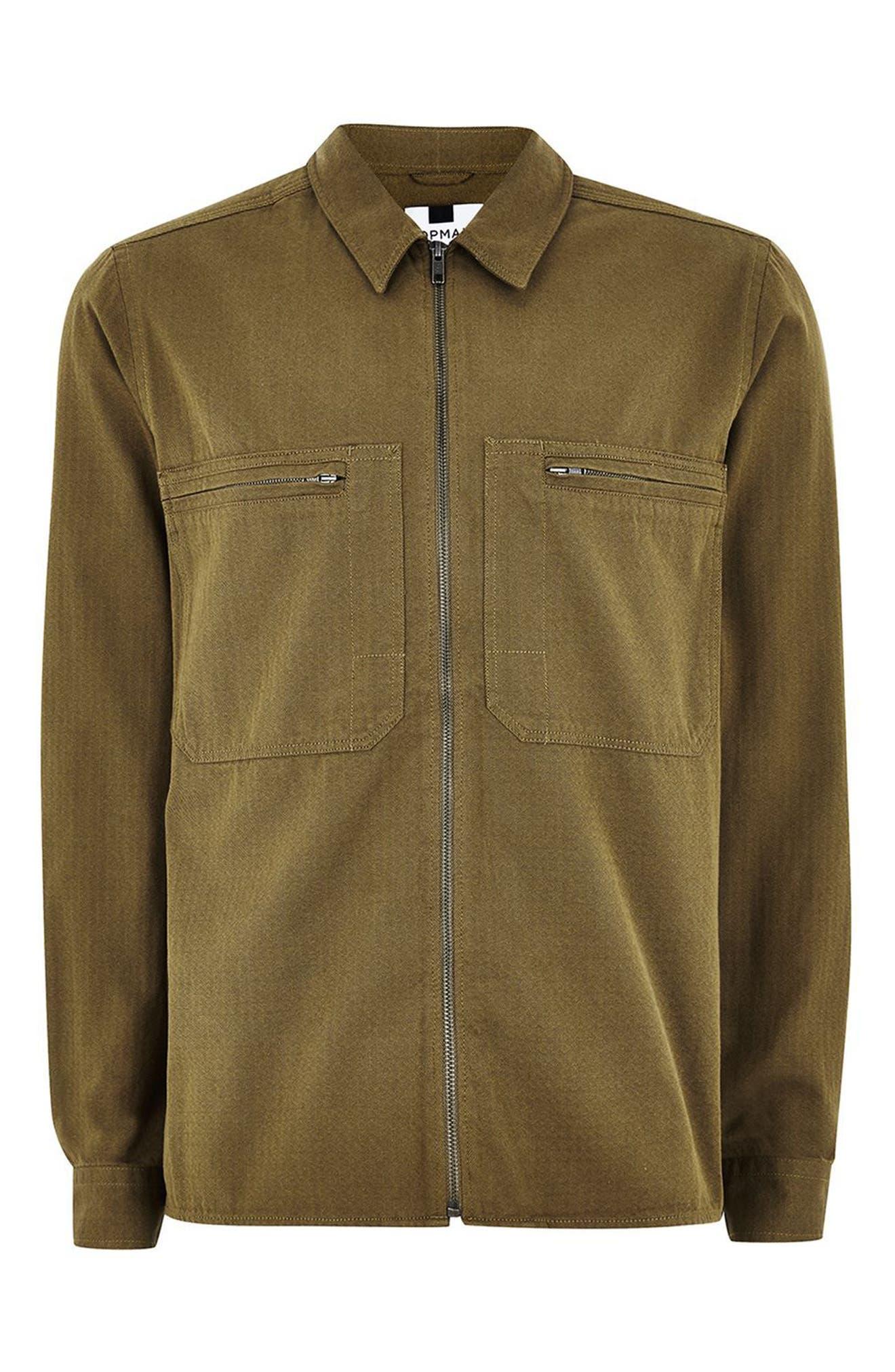 Zip Shirt Jacket,                             Alternate thumbnail 3, color,                             GREEN