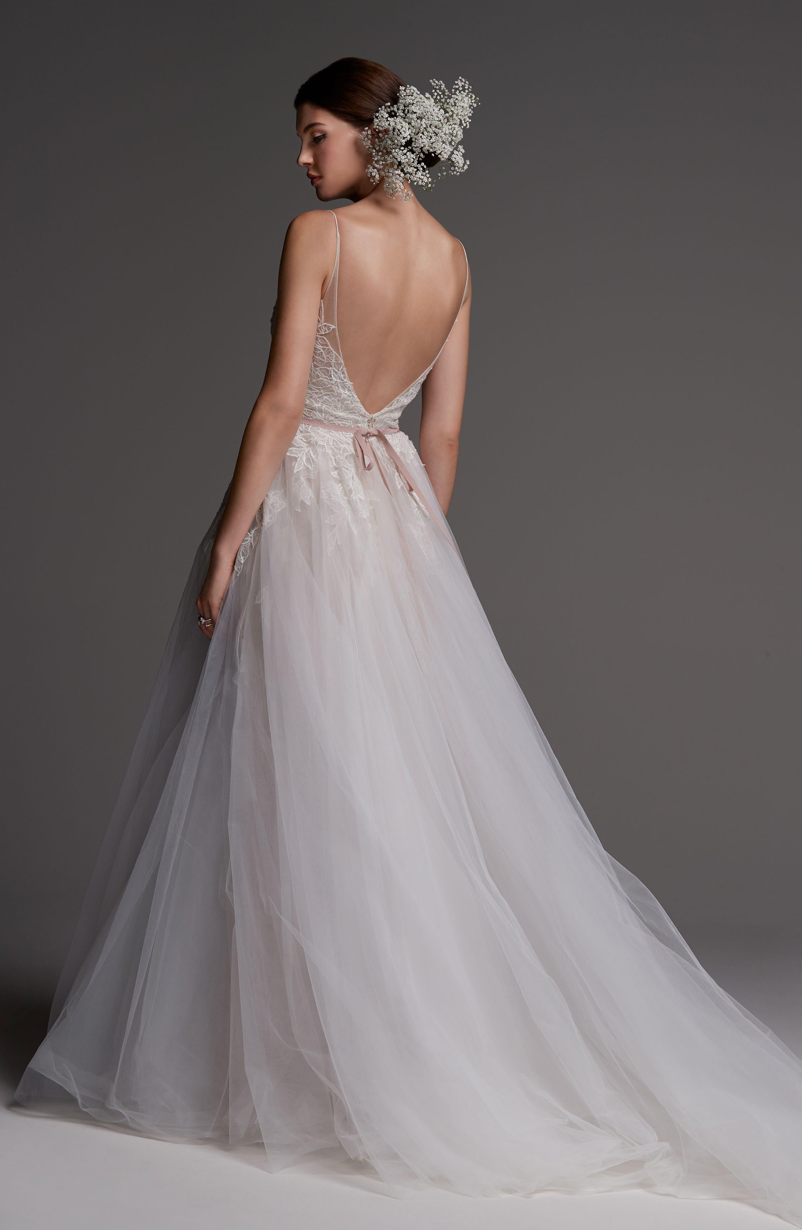 Avignon Lace & Tulle A-Line Gown,                             Alternate thumbnail 2, color,                             IVORY/ BLUSH/ ROSE QUARTZ