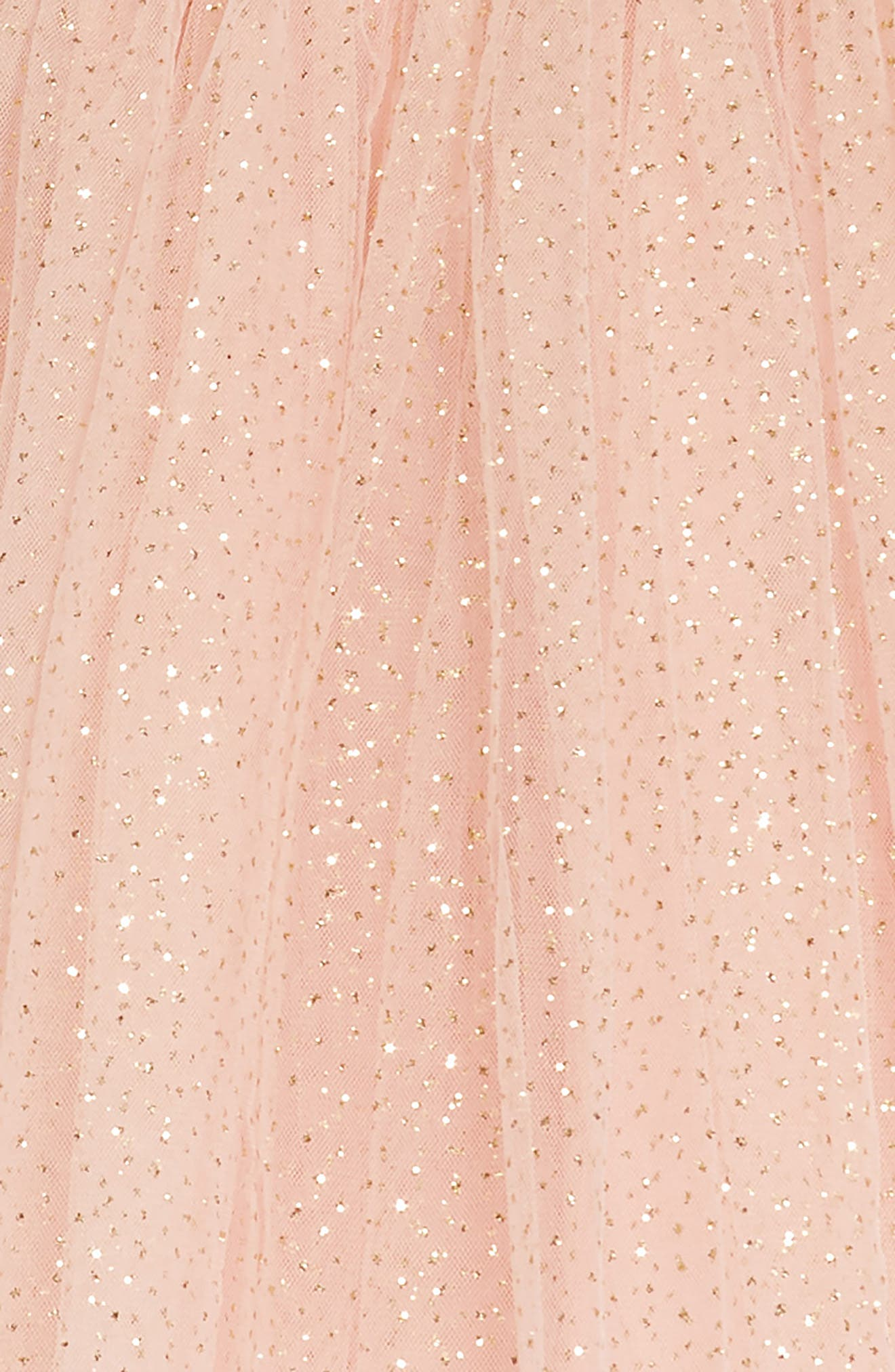 Glitter Dotted Tulle Empire Dress,                             Alternate thumbnail 3, color,                             PEACH