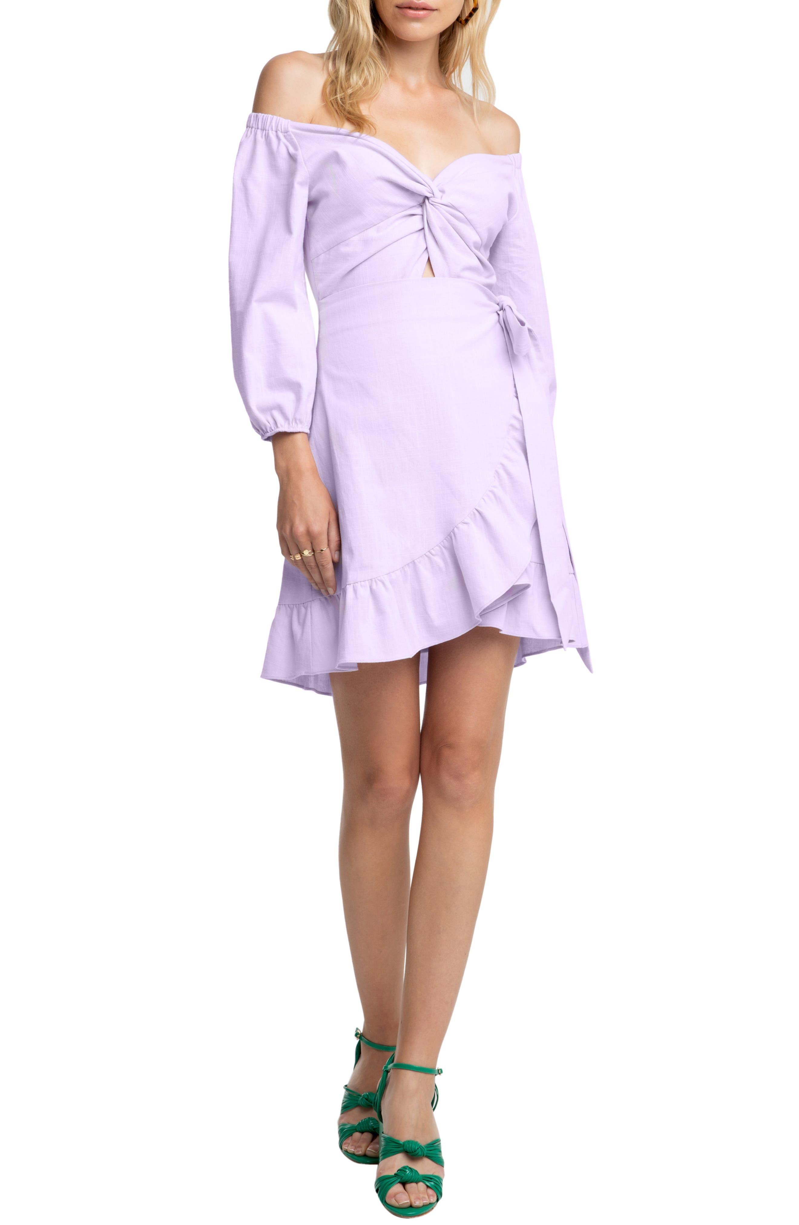 Astr The Label Aubrey Off The Shoulder Dress, Purple