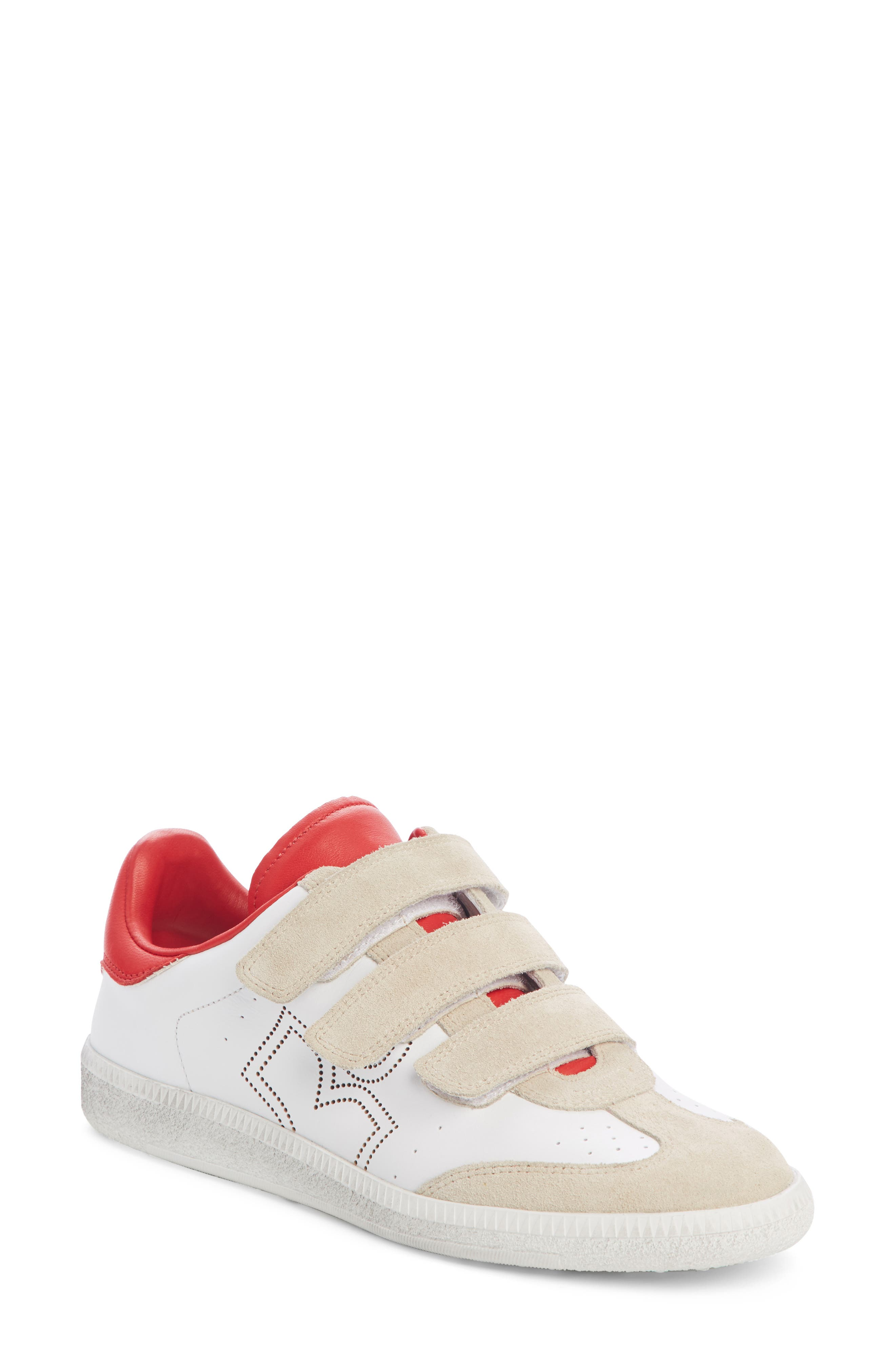 ISABEL MARANT,                             Beth Low Top Sneaker,                             Main thumbnail 1, color,                             WHITE / RED