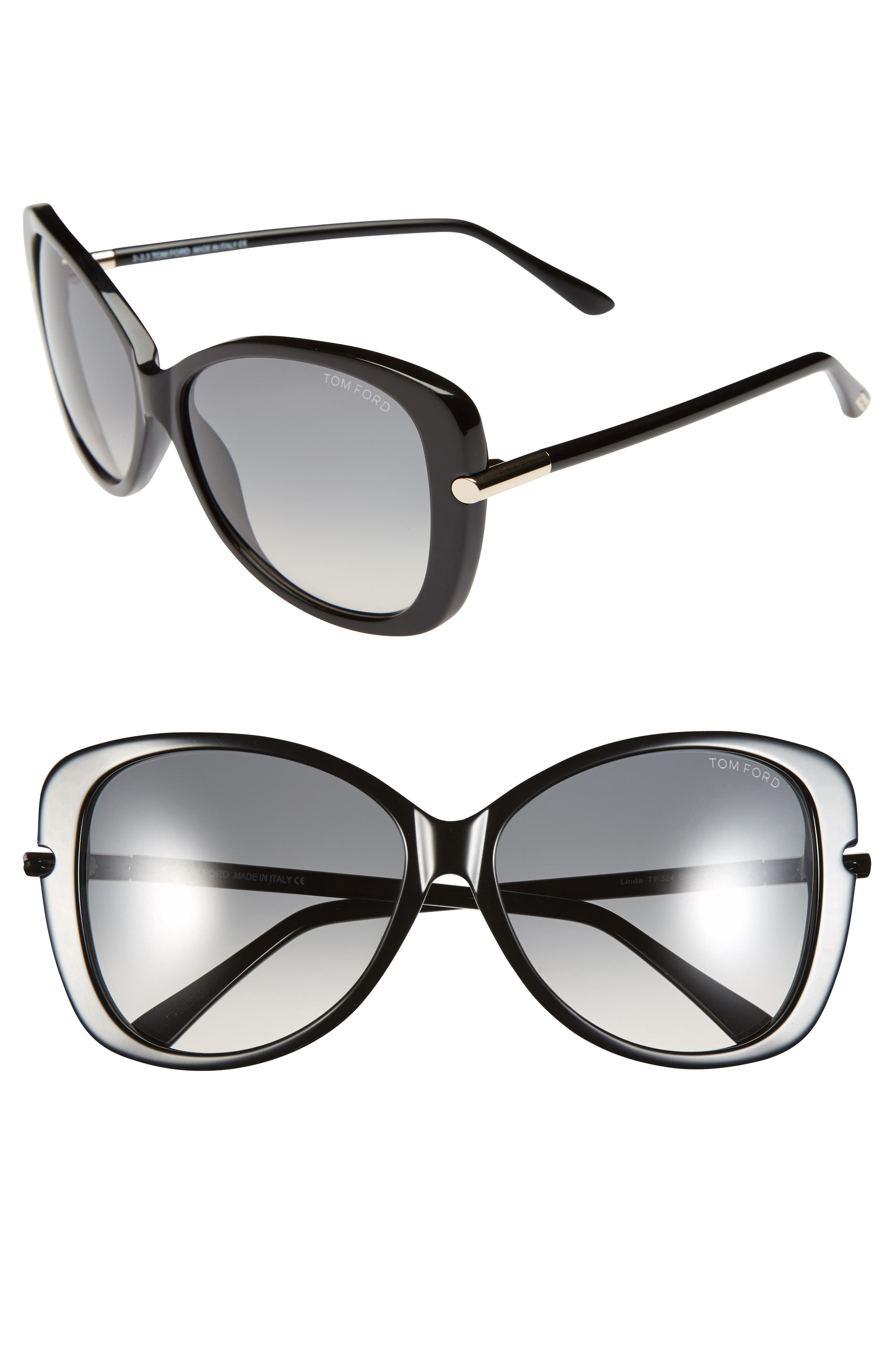 'Linda' 59mm Sunglasses,                             Alternate thumbnail 2, color,                             SHINY BLACK
