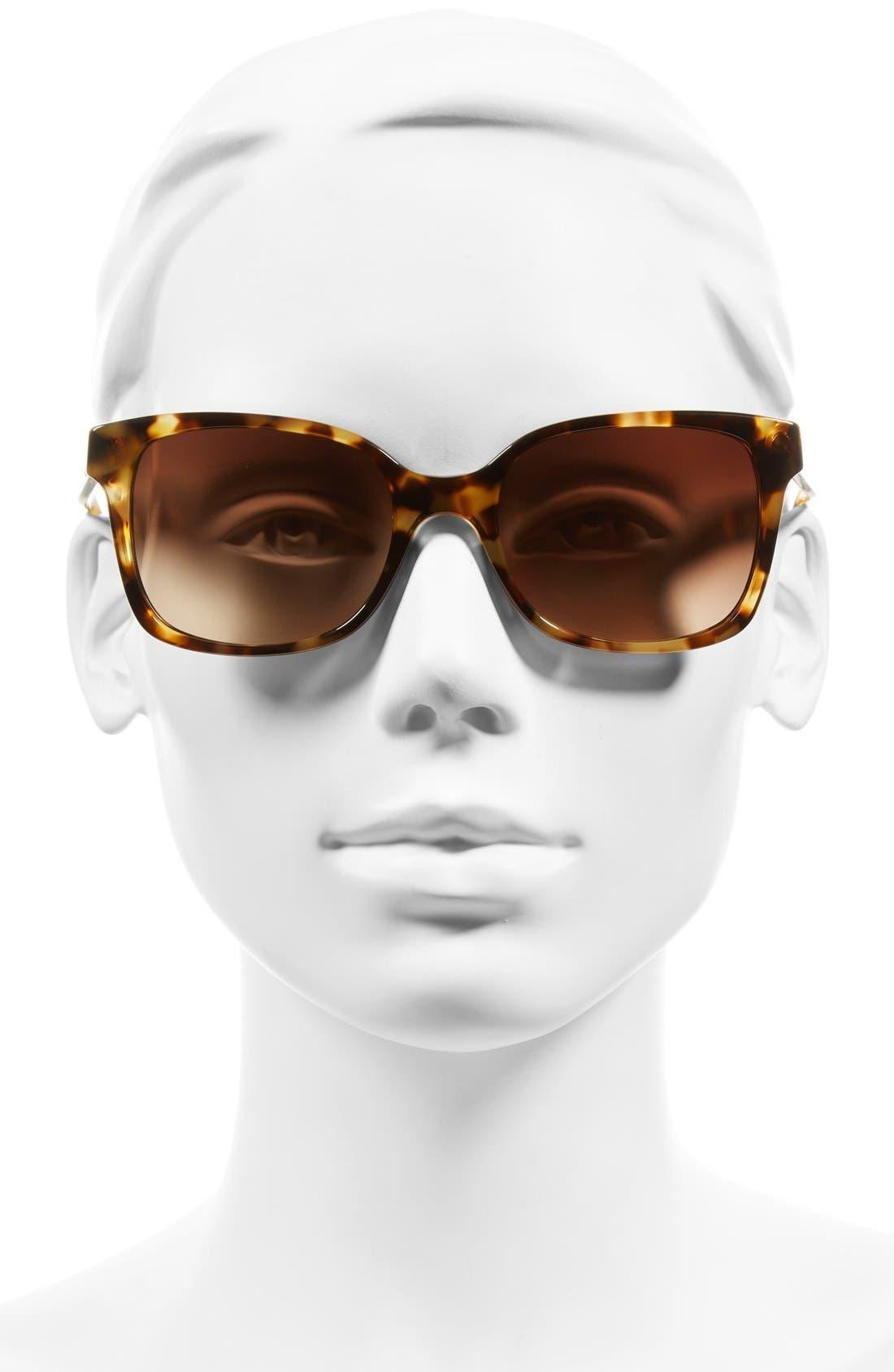 54mm Sunglasses,                             Alternate thumbnail 3, color,                             LIGHT TORTOISE