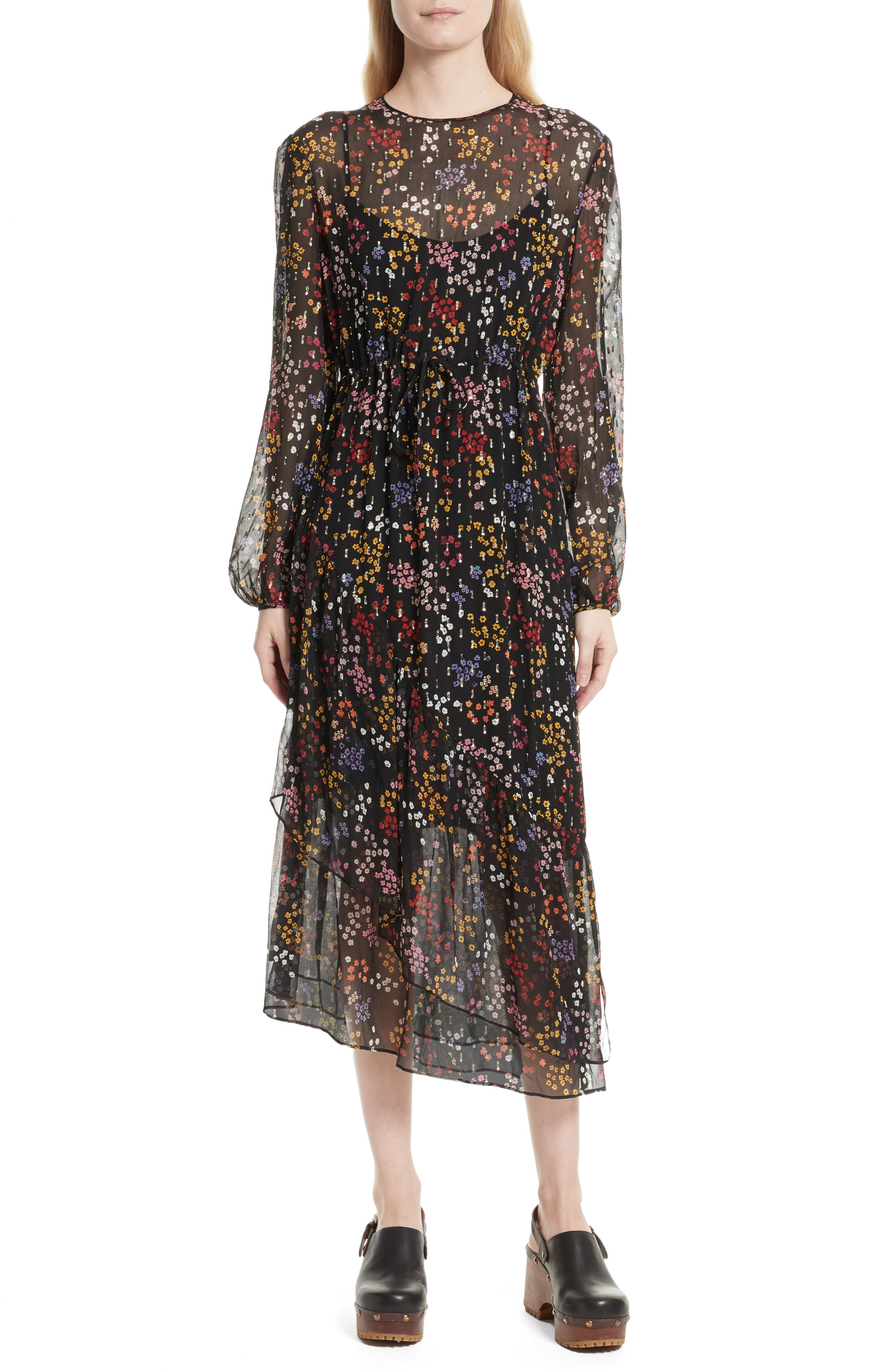 Floral Print Metallic Silk Midi Dress,                         Main,                         color, 001