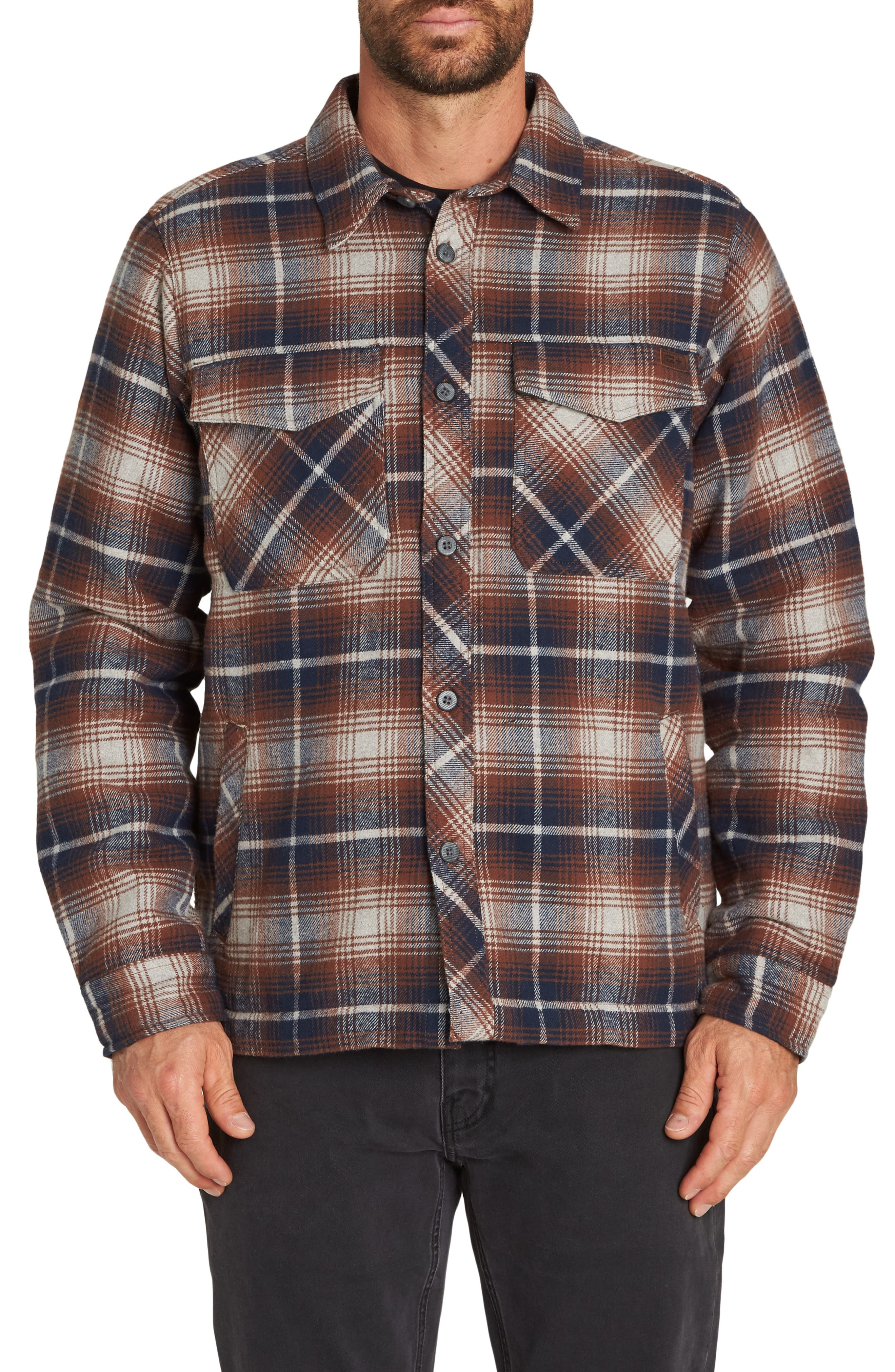 Barlow Plaid Flannel Jacket,                         Main,                         color, PEWTER