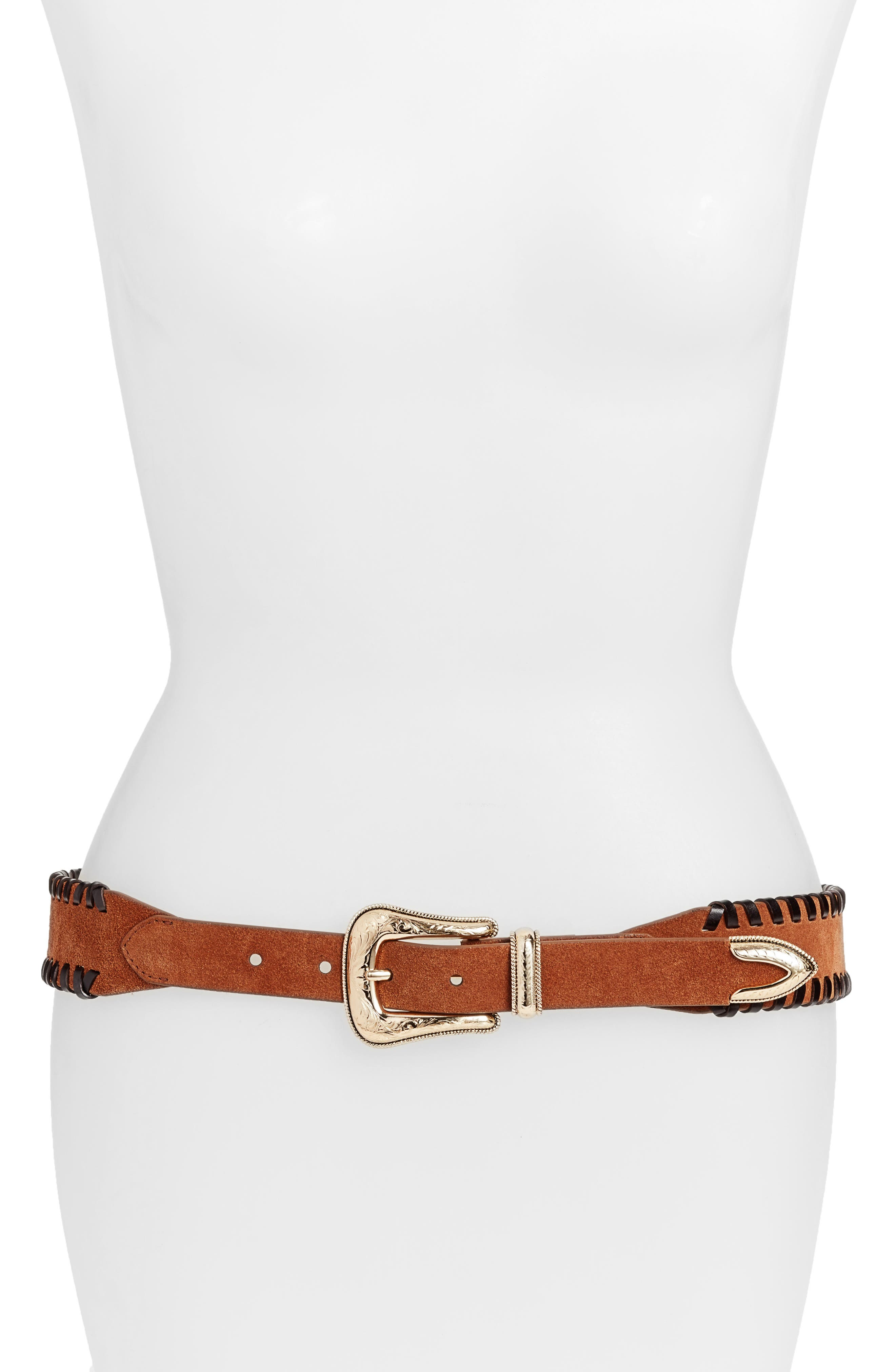 Amy Whipstitch Suede Belt,                             Main thumbnail 1, color,