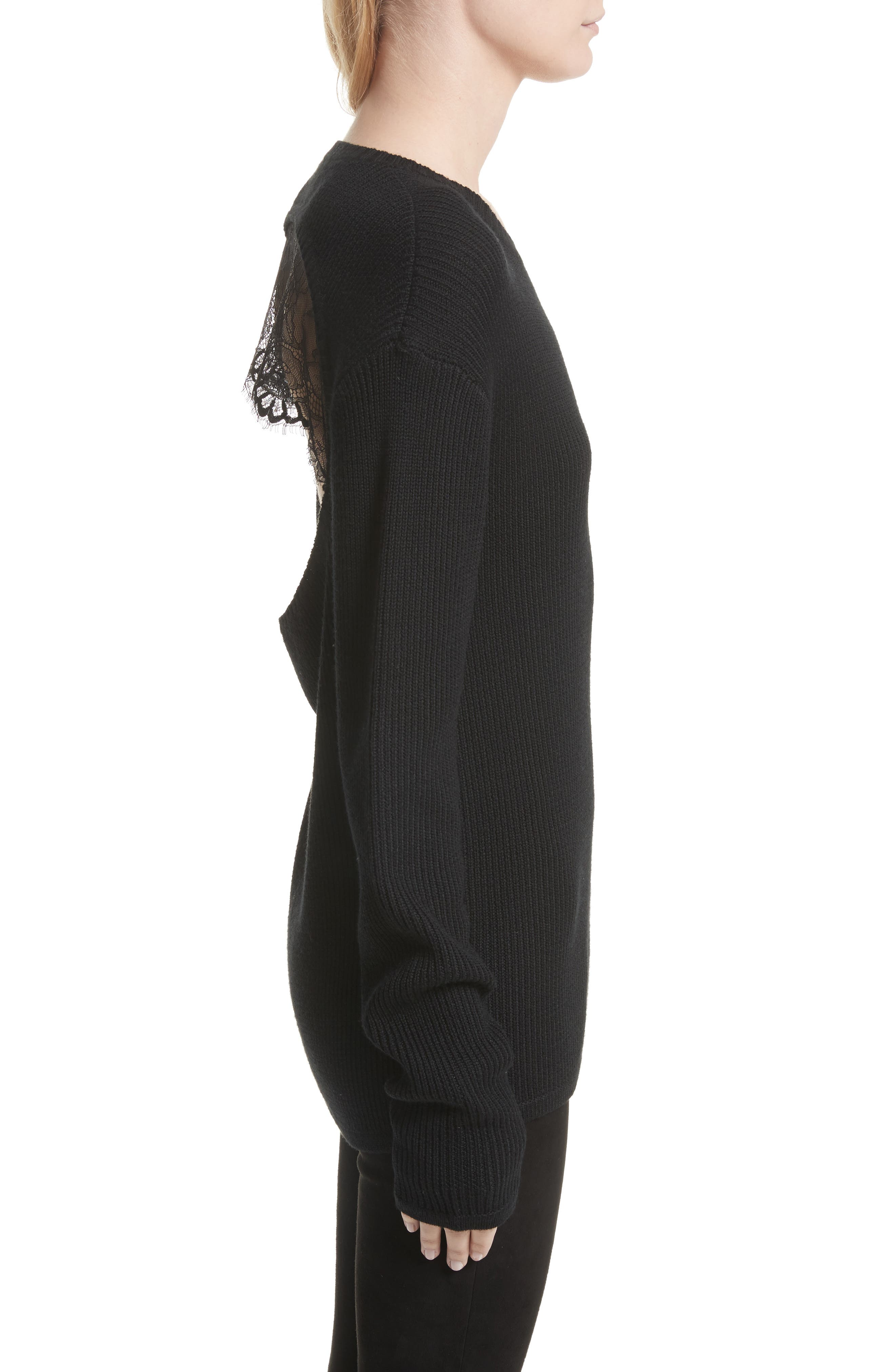 Antonio Lace Back Wool Sweater,                             Alternate thumbnail 3, color,                             001