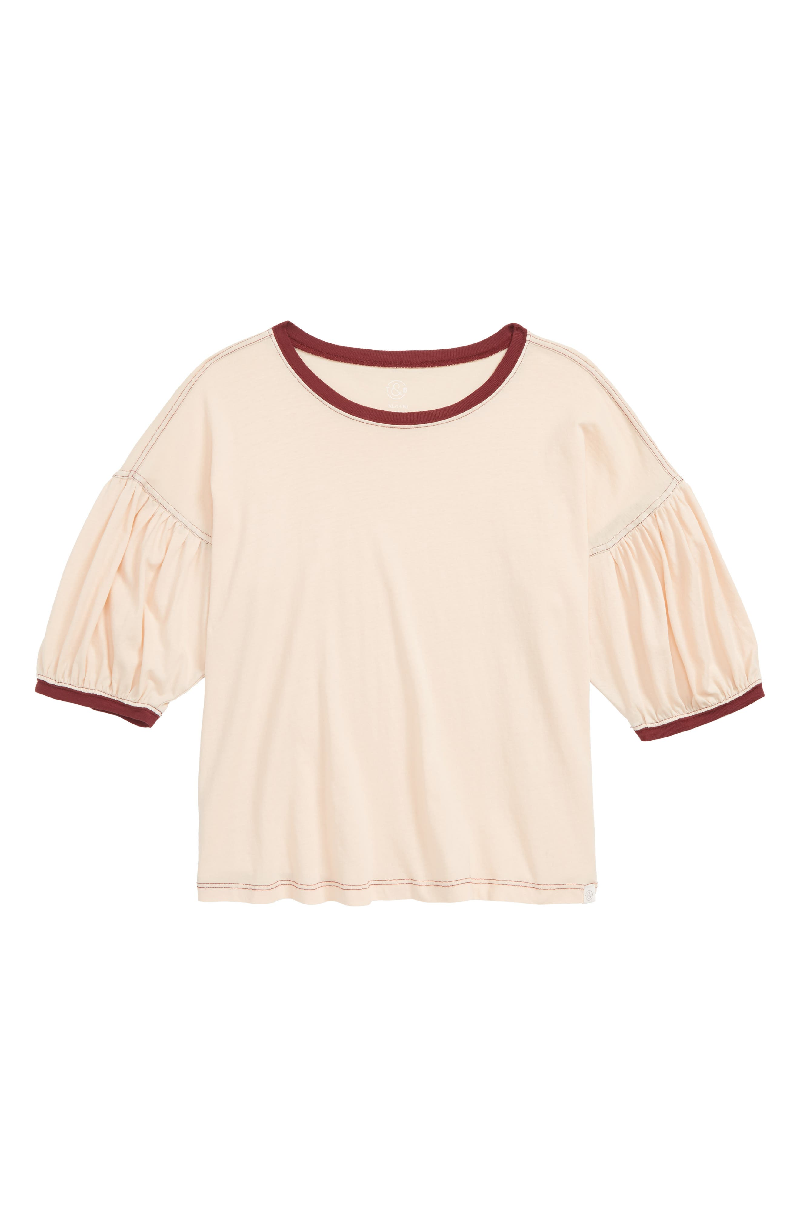 Puff Sleeve Tee,                         Main,                         color, CORAL PALE