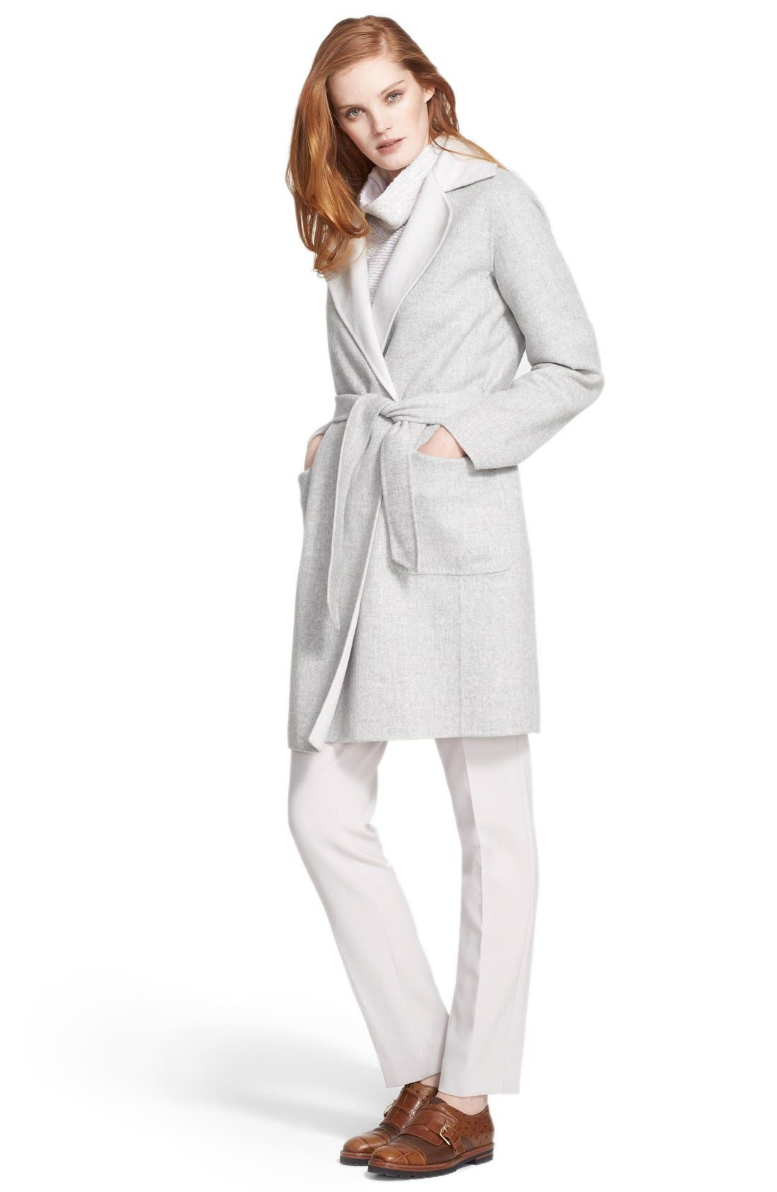 'Visone' Reversible Wool & Angora Wrap Coat with Belt,                             Alternate thumbnail 3, color,                             054