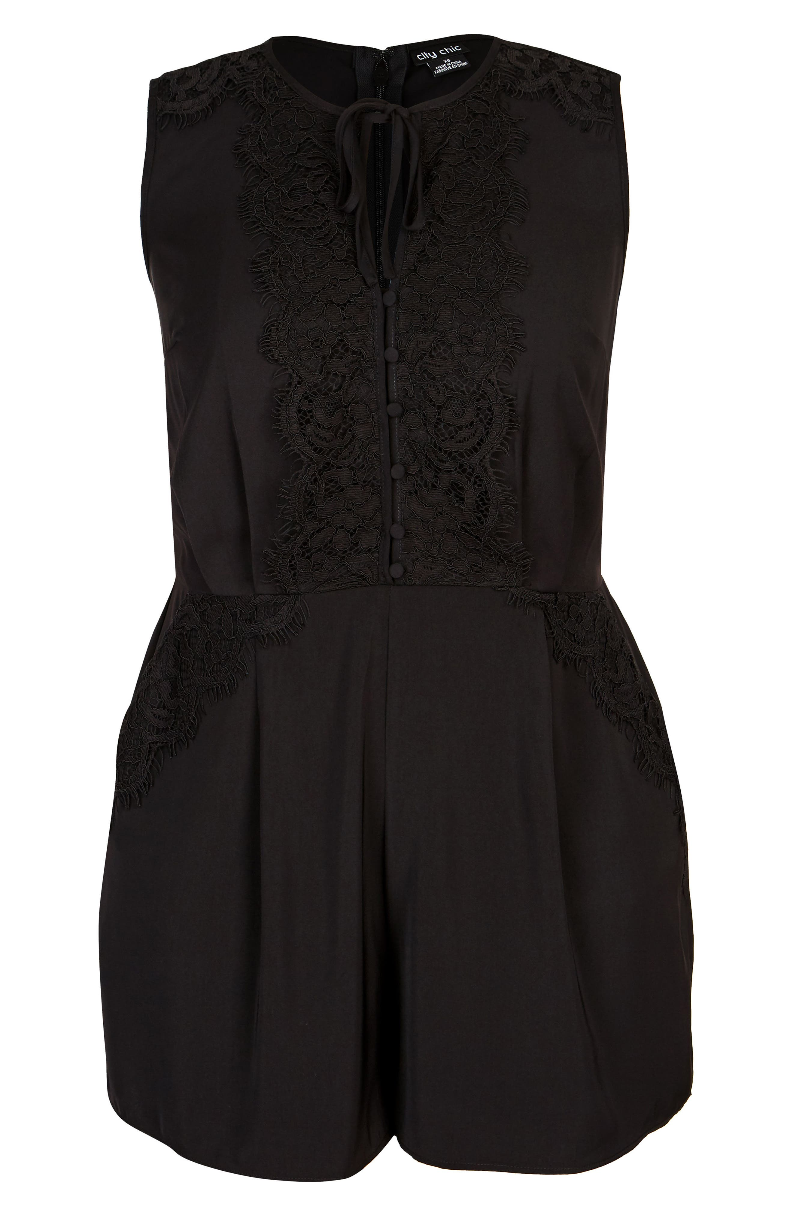 Lace Dream Playsuit,                             Alternate thumbnail 3, color,                             BLACK