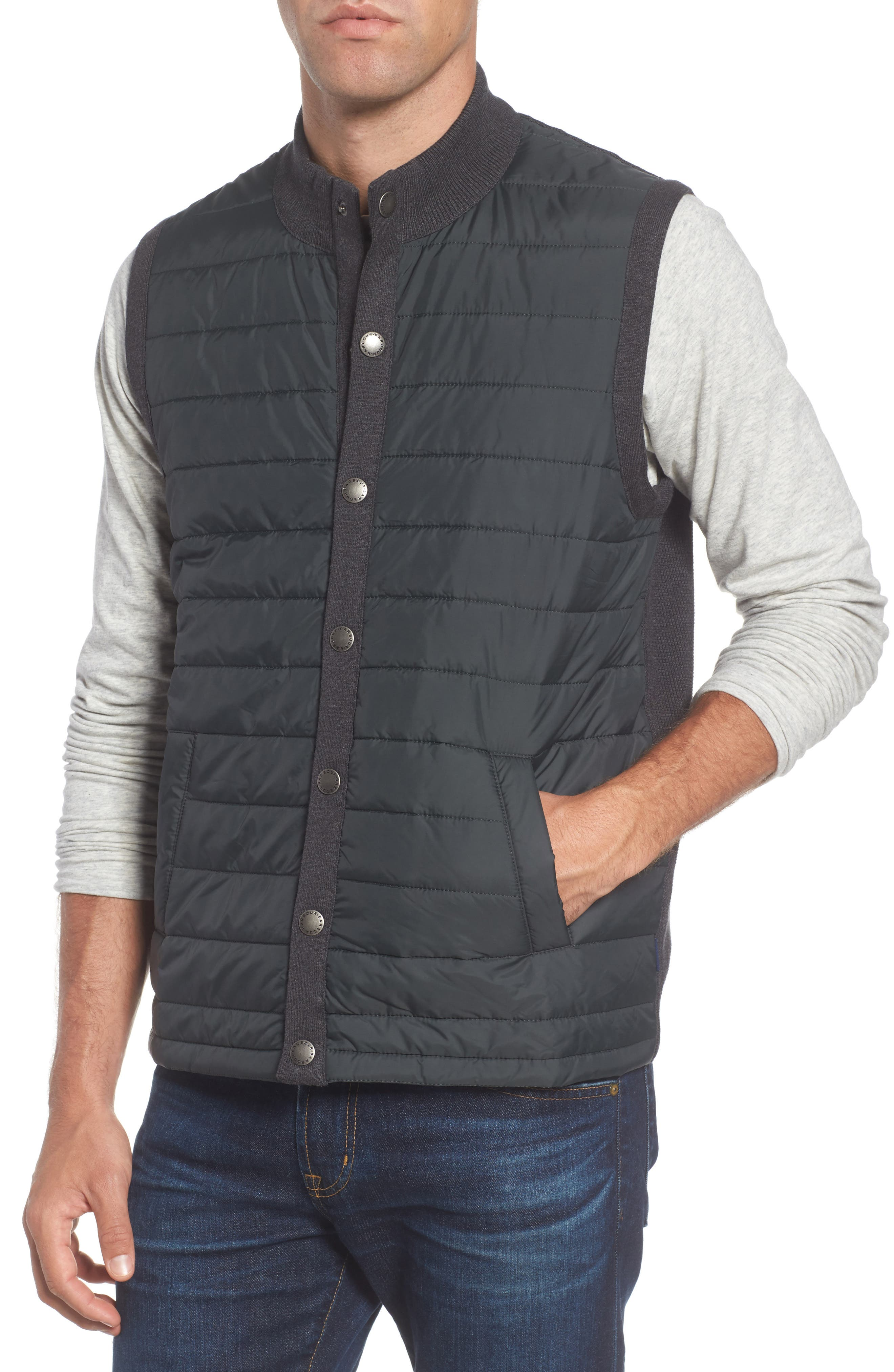 'Essential' Tailored Fit Mixed Media Vest,                             Alternate thumbnail 4, color,                             020