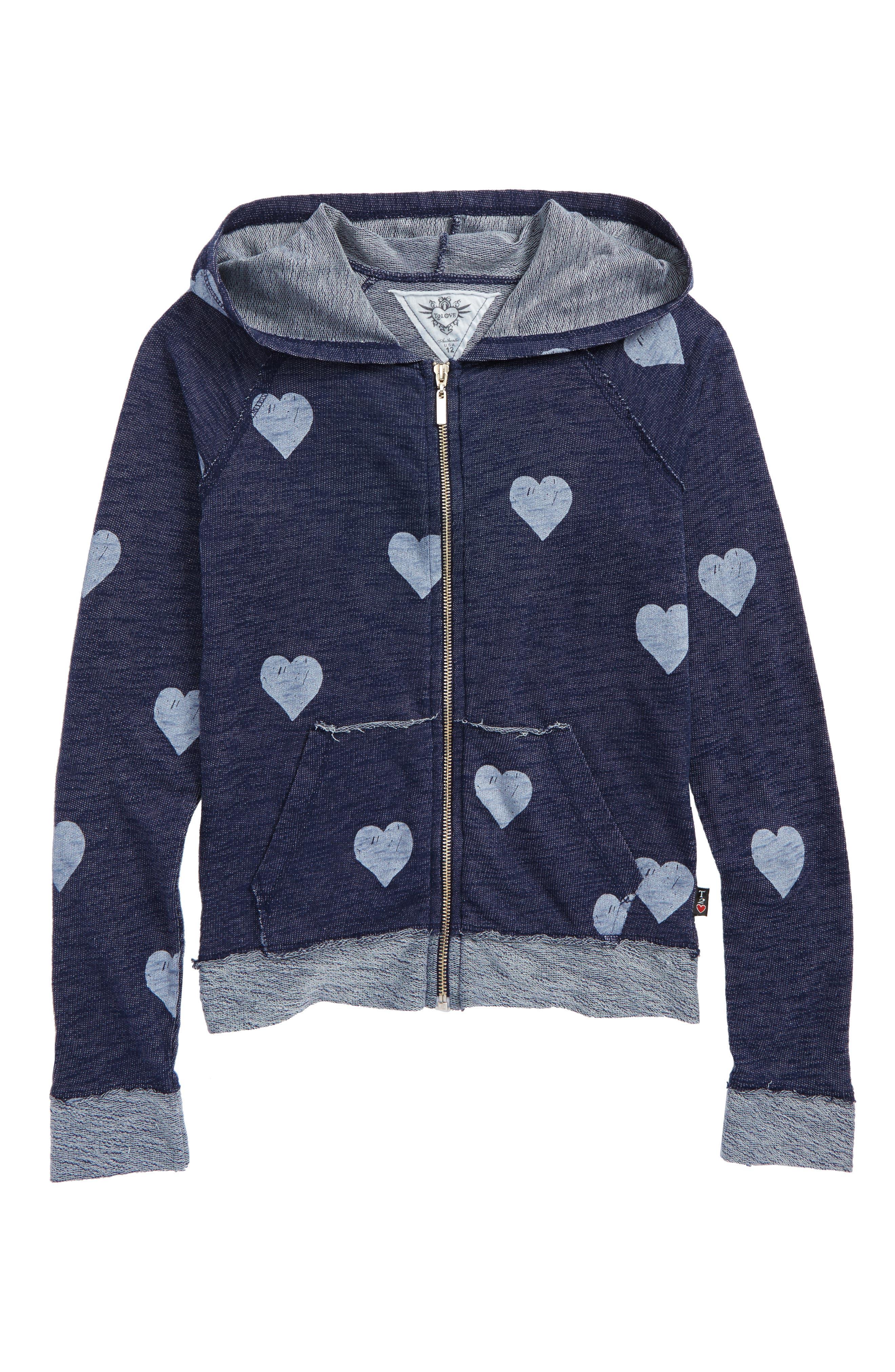 Allover Heart Zip Hoodie,                         Main,                         color, 420