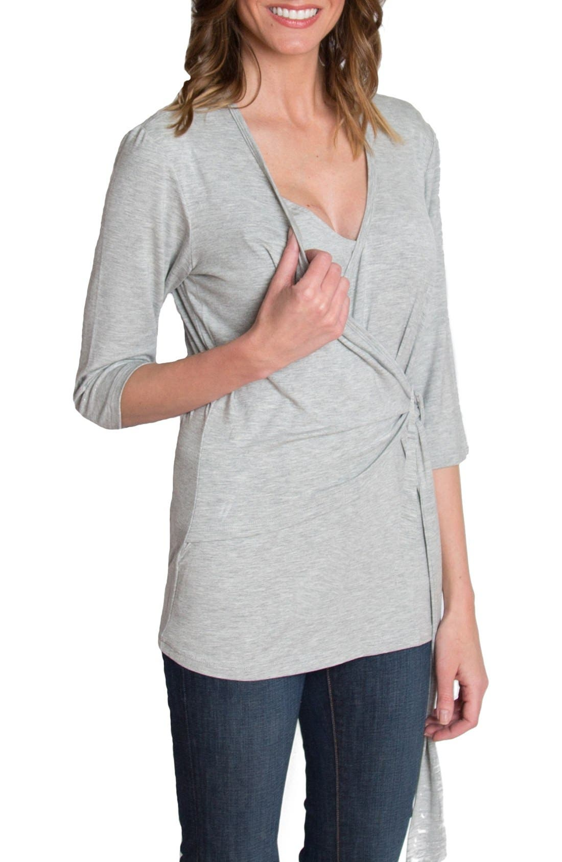Whimsical Nursing Wrap Top,                             Alternate thumbnail 4, color,                             HEATHER GRAY