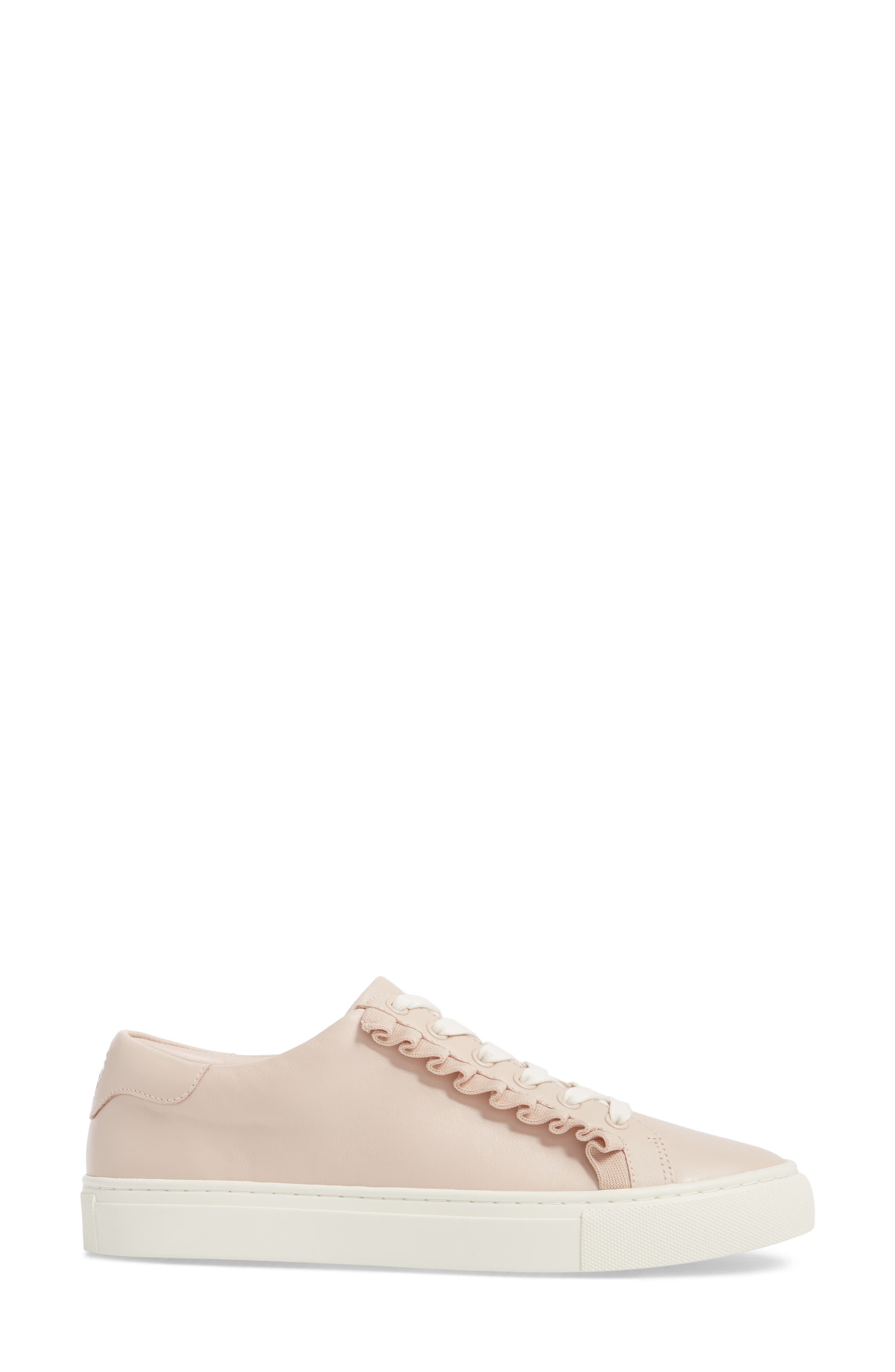 Ruffle Sneaker,                             Alternate thumbnail 3, color,                             SHELL PINK