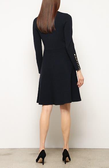 Textured Jacquard Knit Fit & Flare Dress, video thumbnail