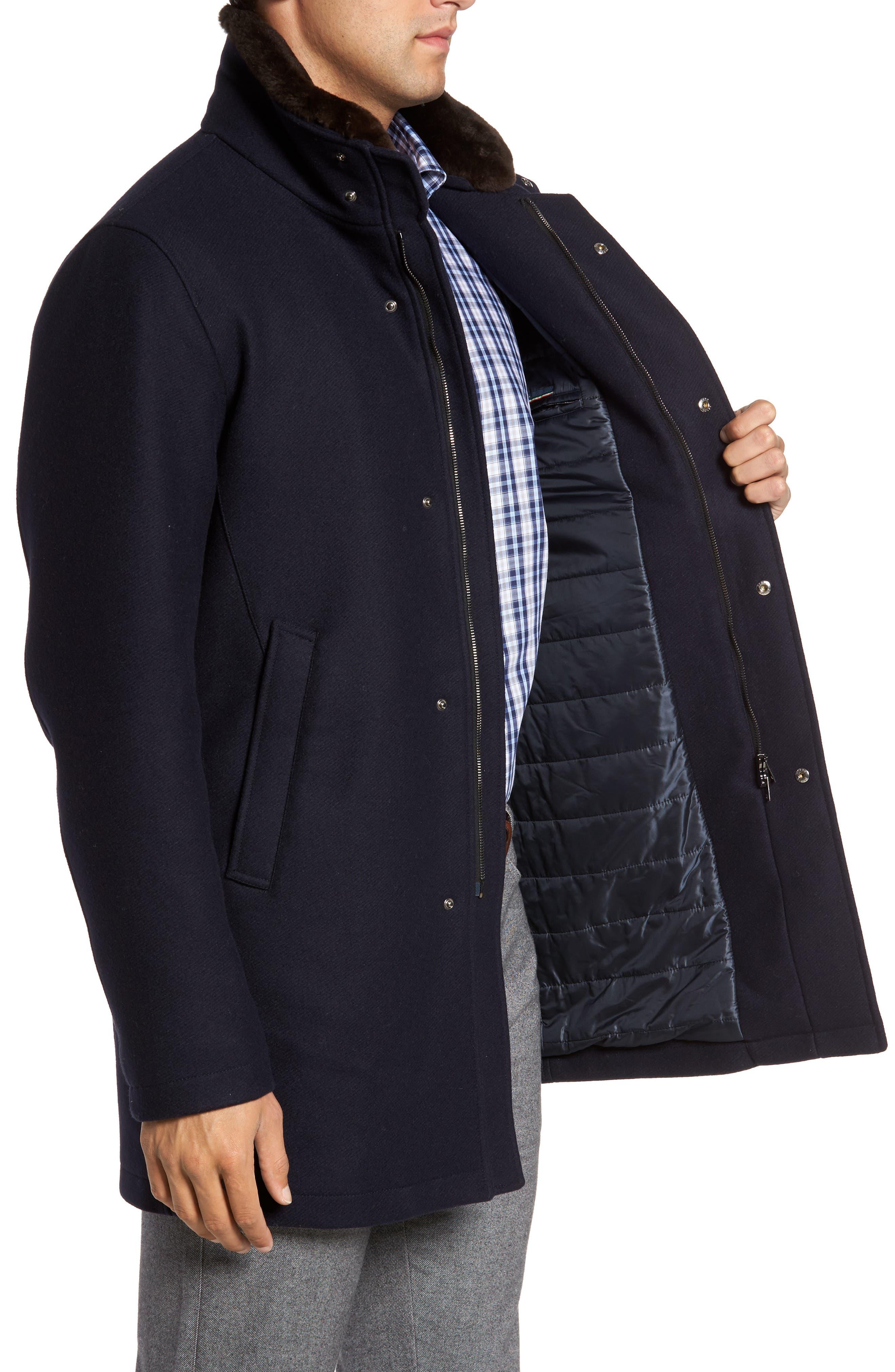 Genuine Beaver Fur Collar Wool Blend Coat,                             Alternate thumbnail 3, color,                             400