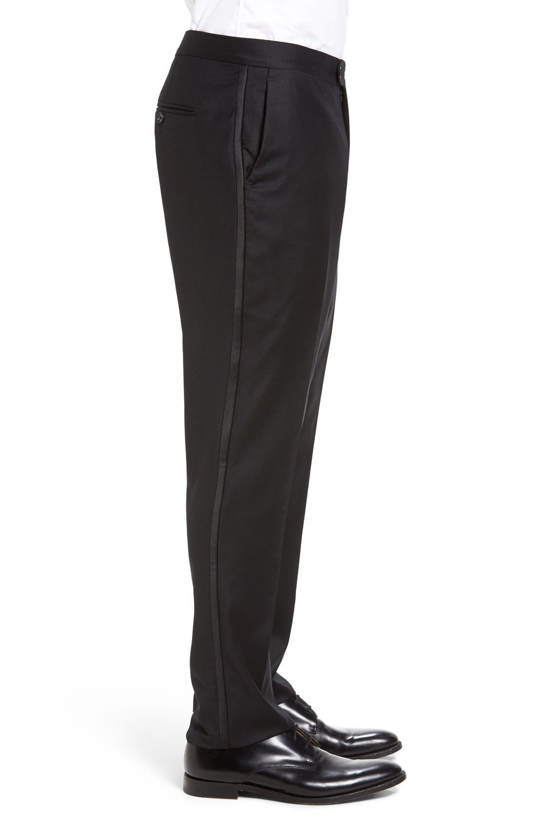 Dagger Flat Front Formal Wool Trousers,                             Alternate thumbnail 3, color,                             001