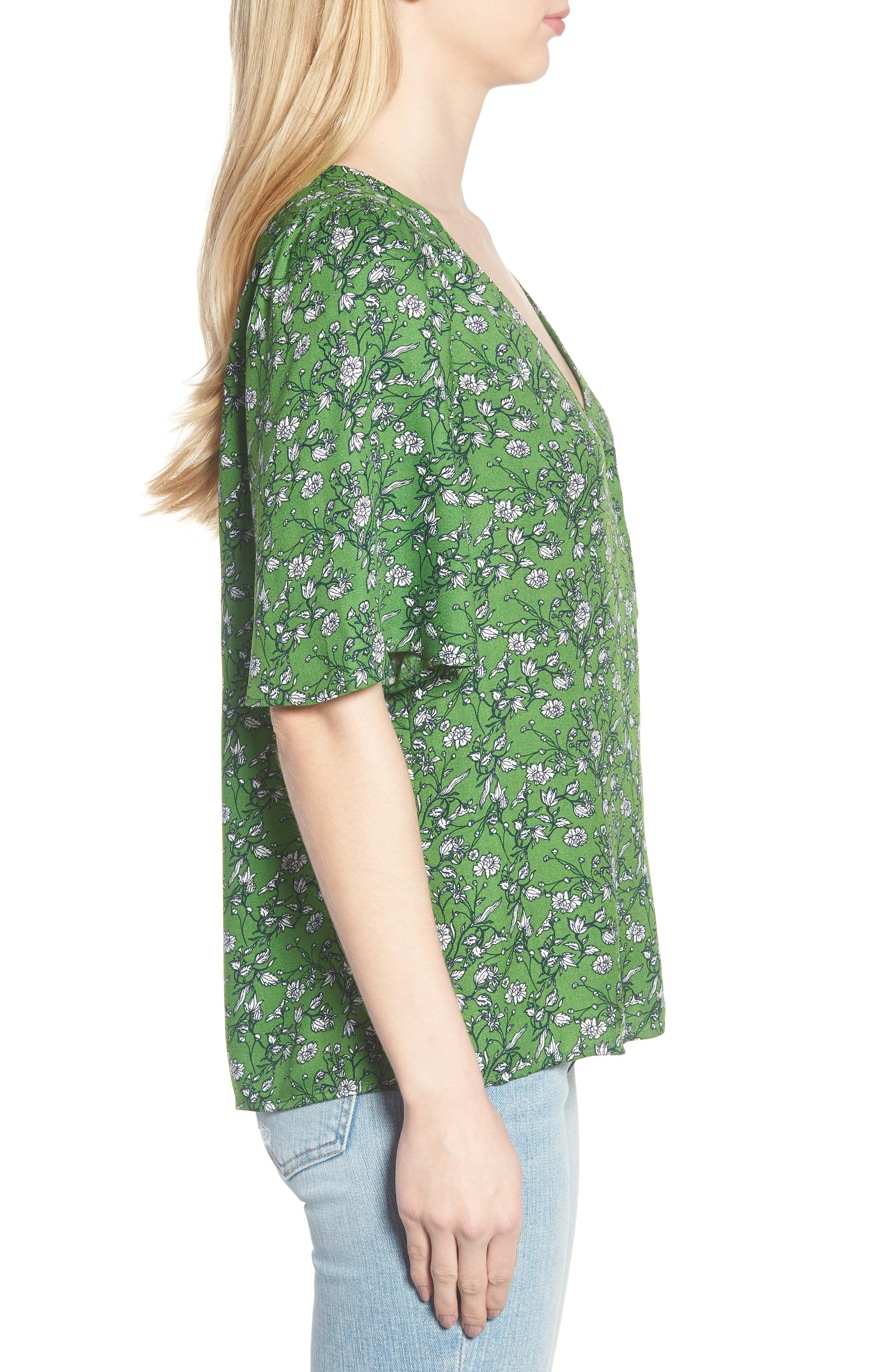Button Front V-Neck Top,                             Alternate thumbnail 3, color,                             GREEN CANOPY FLOWER BRANCHES