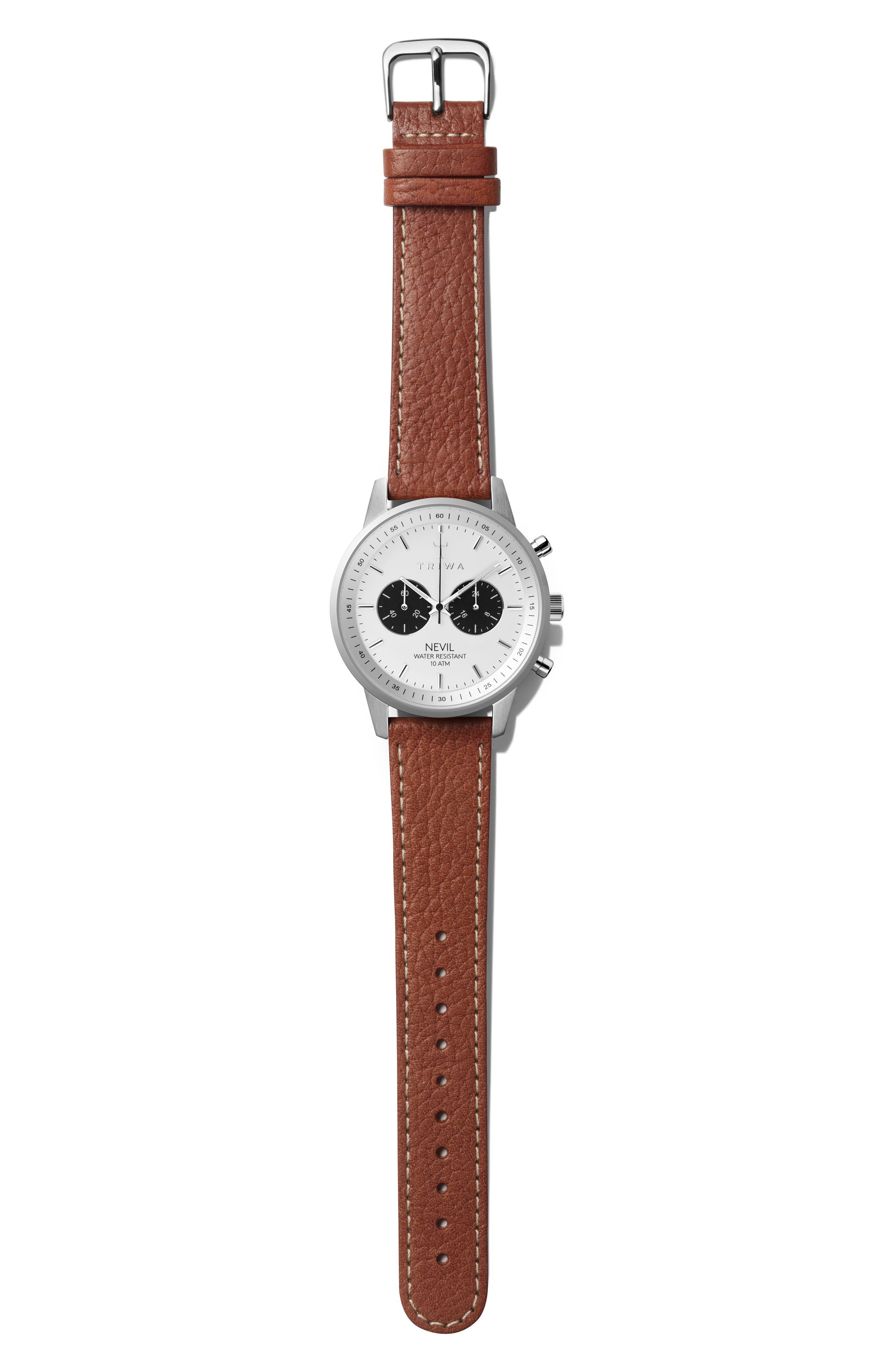 Raven Nevil Leather Strap Watch, 42mm,                             Main thumbnail 1, color,                             200