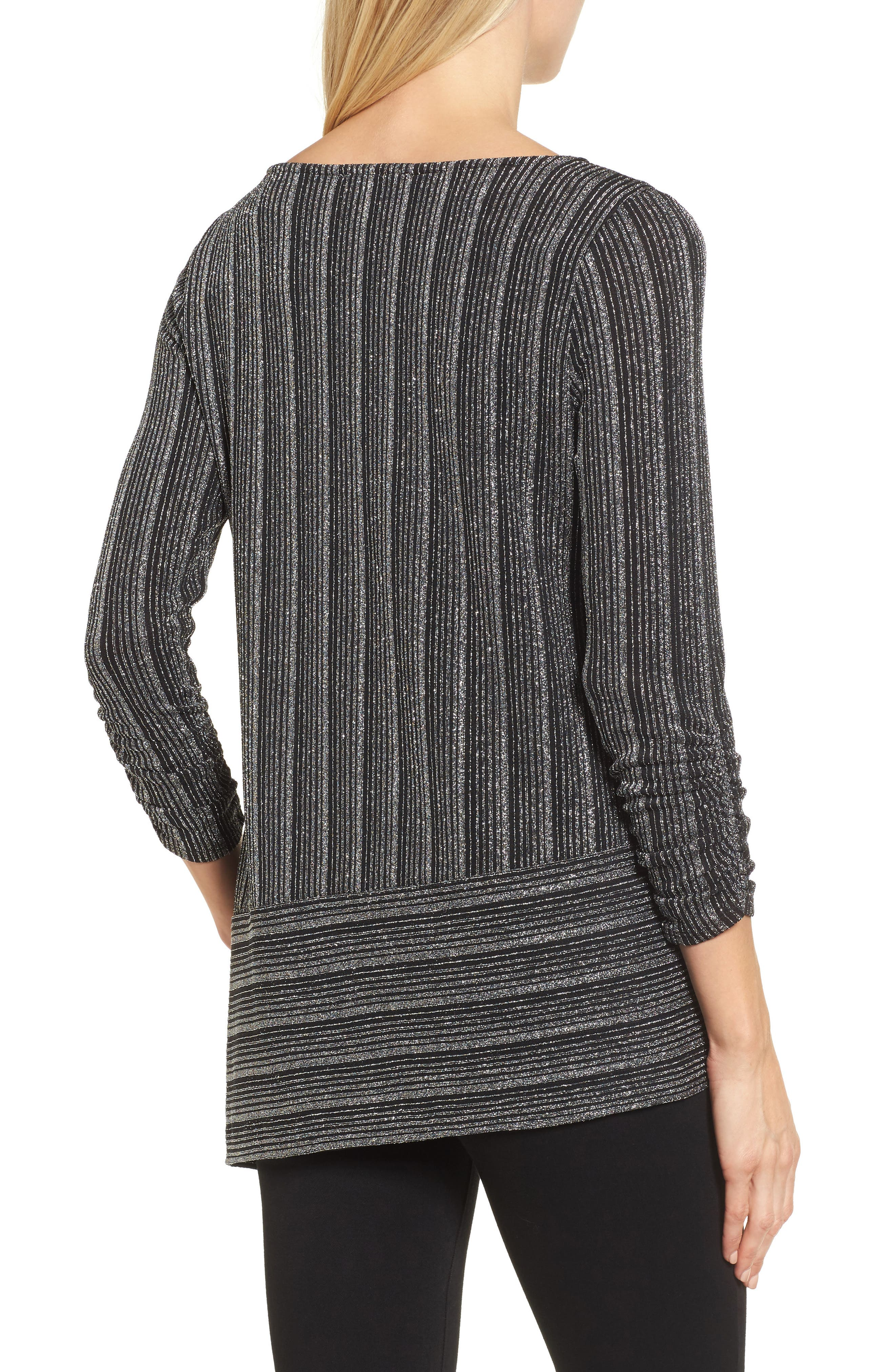 Metallic Stripe Asymmetrical Top,                             Alternate thumbnail 2, color,                             040