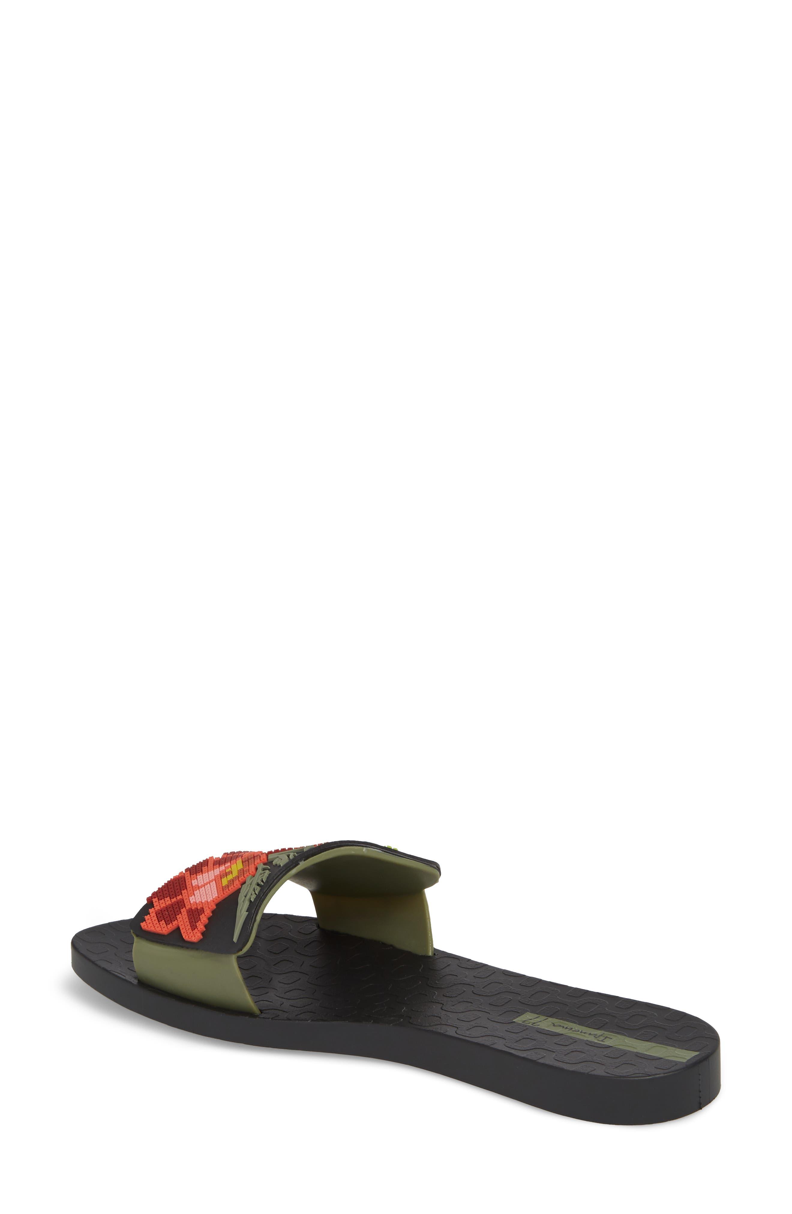 Nectar Floral Slide Sandal,                             Alternate thumbnail 2, color,                             BLACK/ GREEN