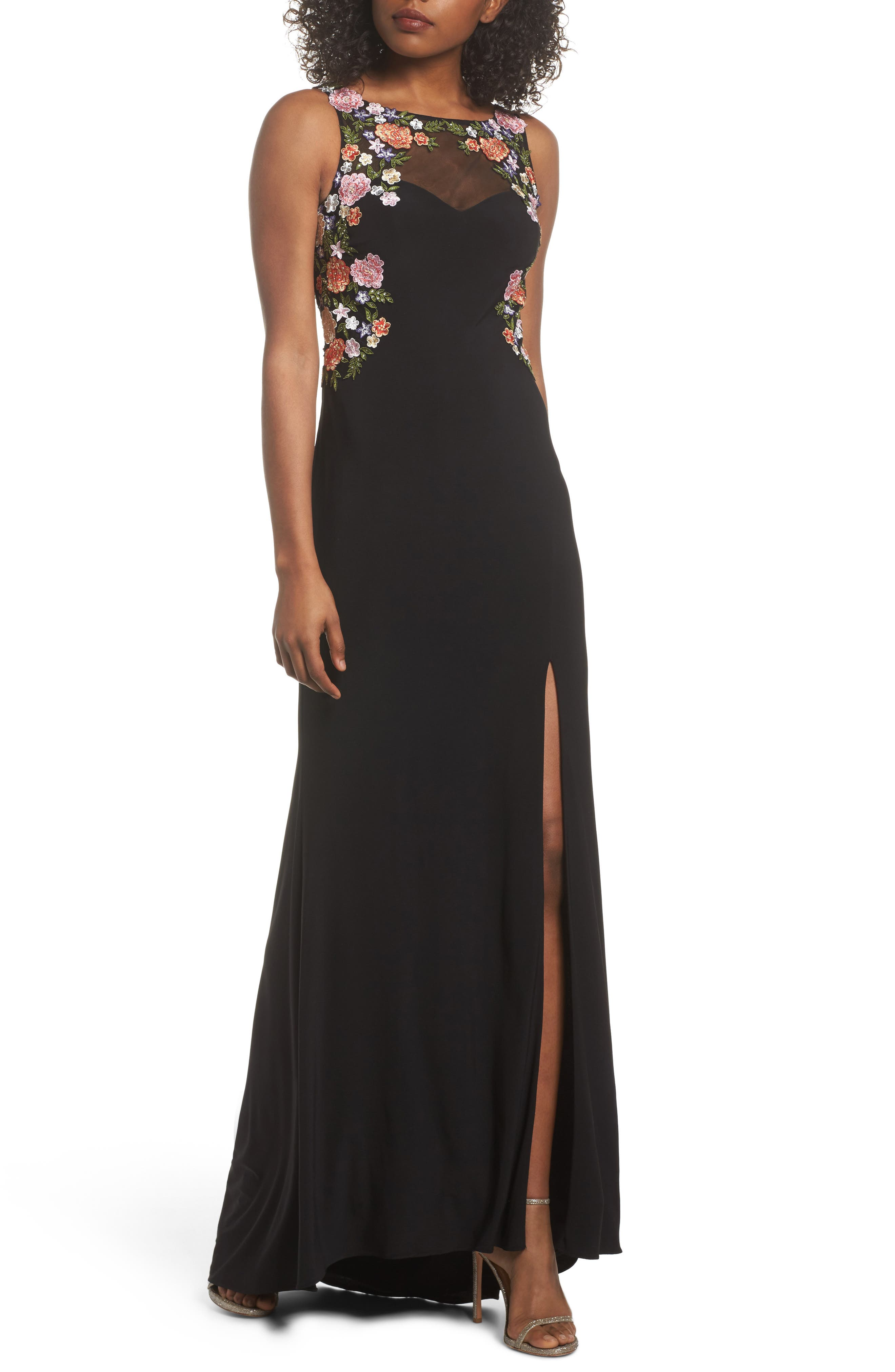 Embellished Sheer Back Knit Gown,                         Main,                         color, BLACK/ MULTI