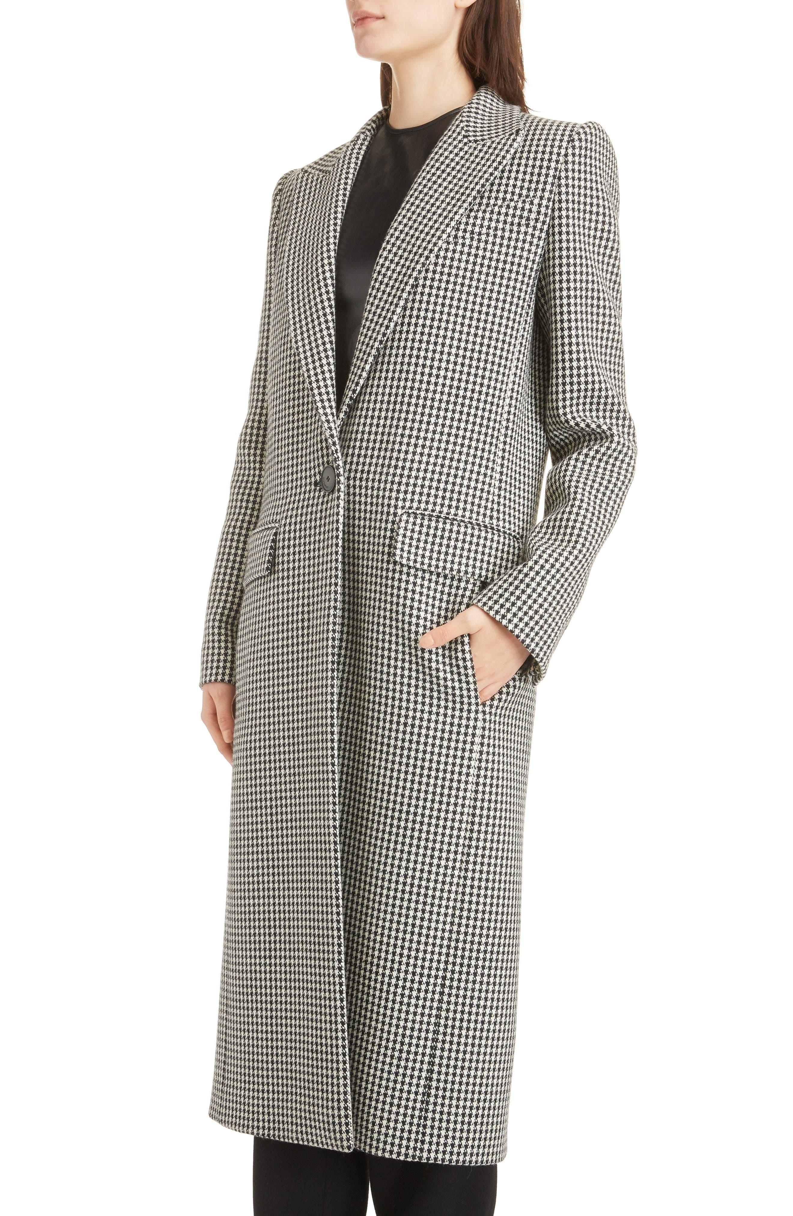 Houndstooth Wool Coat,                             Alternate thumbnail 4, color,                             BLACK NATURAL