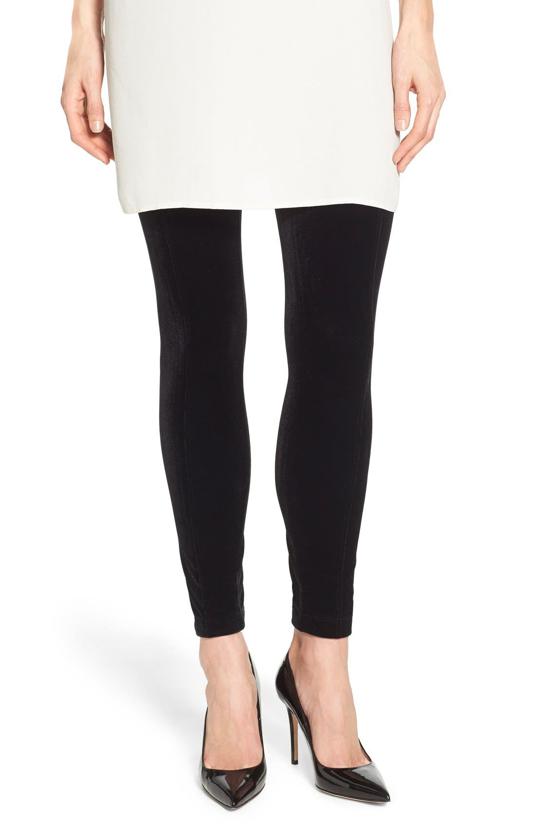 Mara Velvet Leggings, Main, color, BLACK