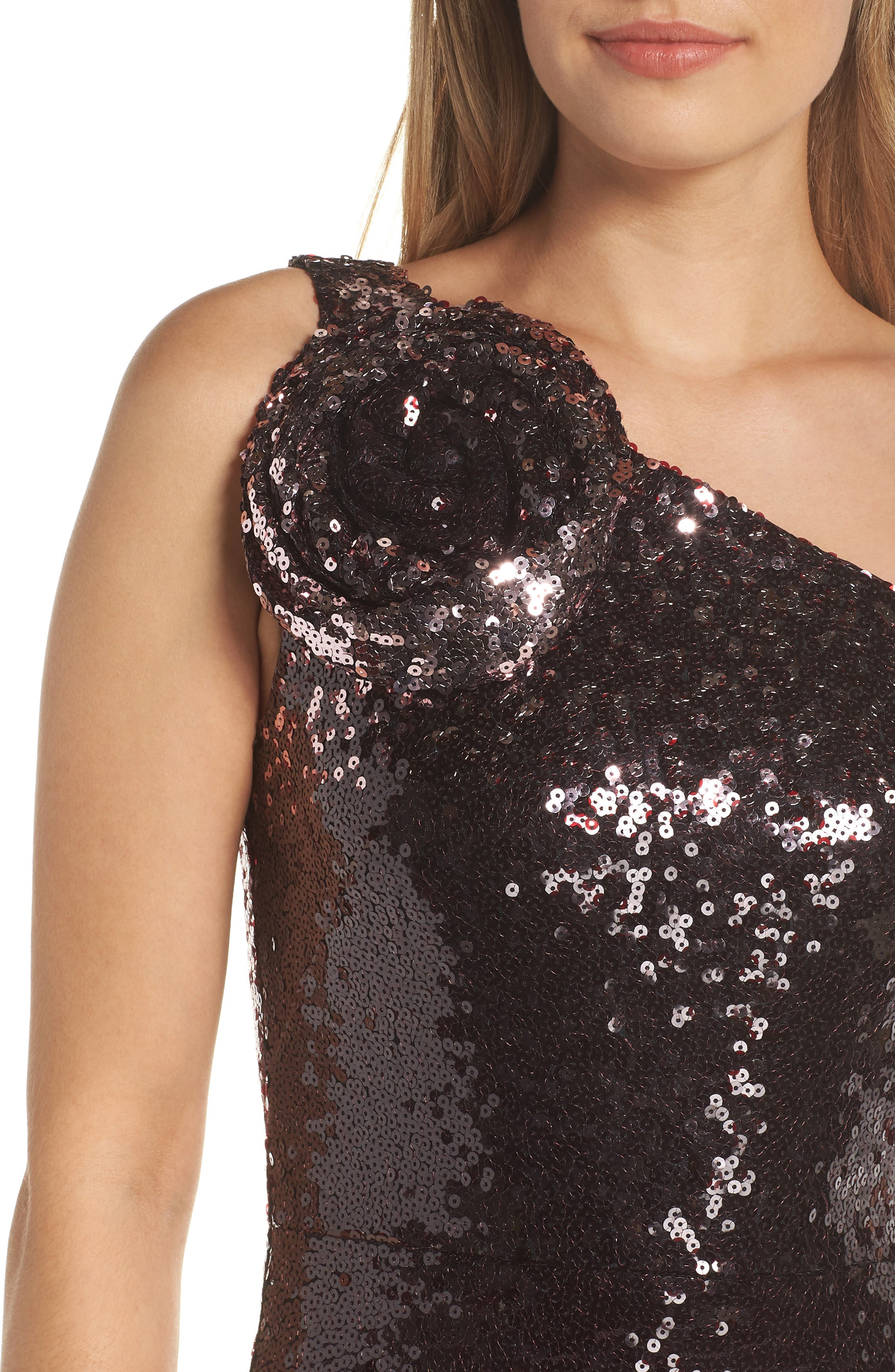 One-Shoulder Sequin Gown,                             Alternate thumbnail 4, color,                             WINE