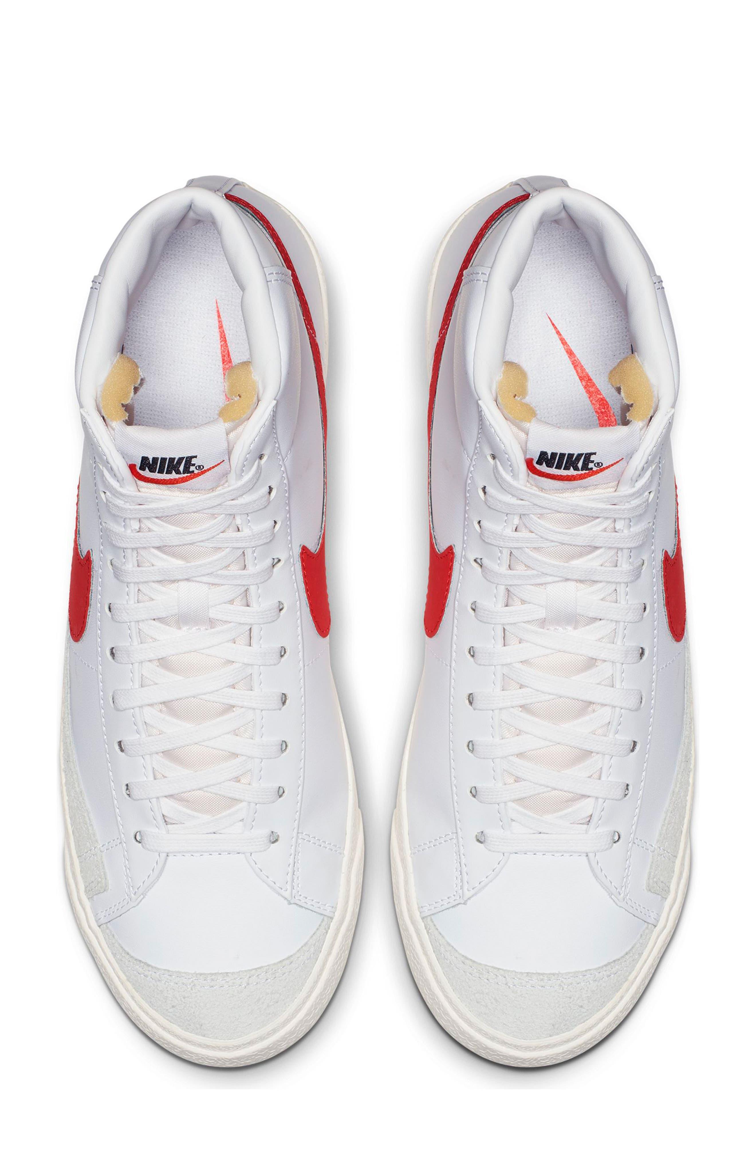 Blazer Mid '77 Vintage Sneaker,                             Alternate thumbnail 4, color,                             HABANERO RED/ SAIL/ WHITE