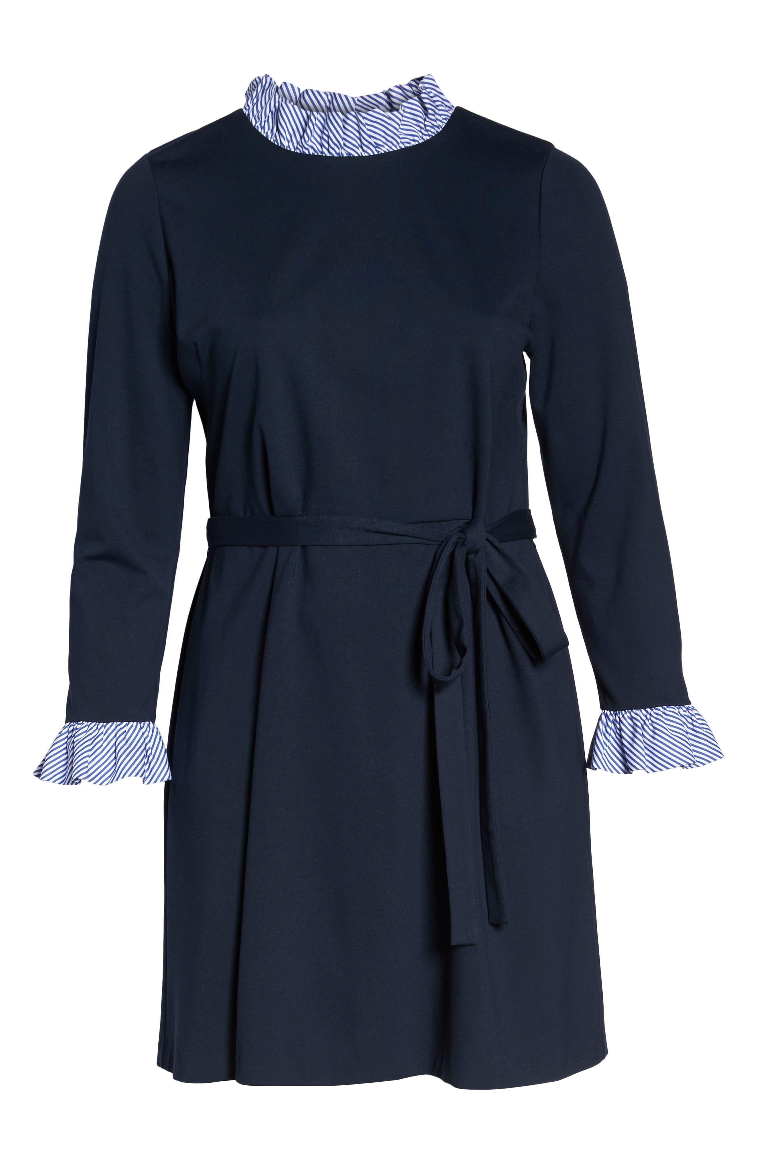 Long Sleeve Ruffle Detail Shirtdress,                             Alternate thumbnail 12, color,                             NAVY