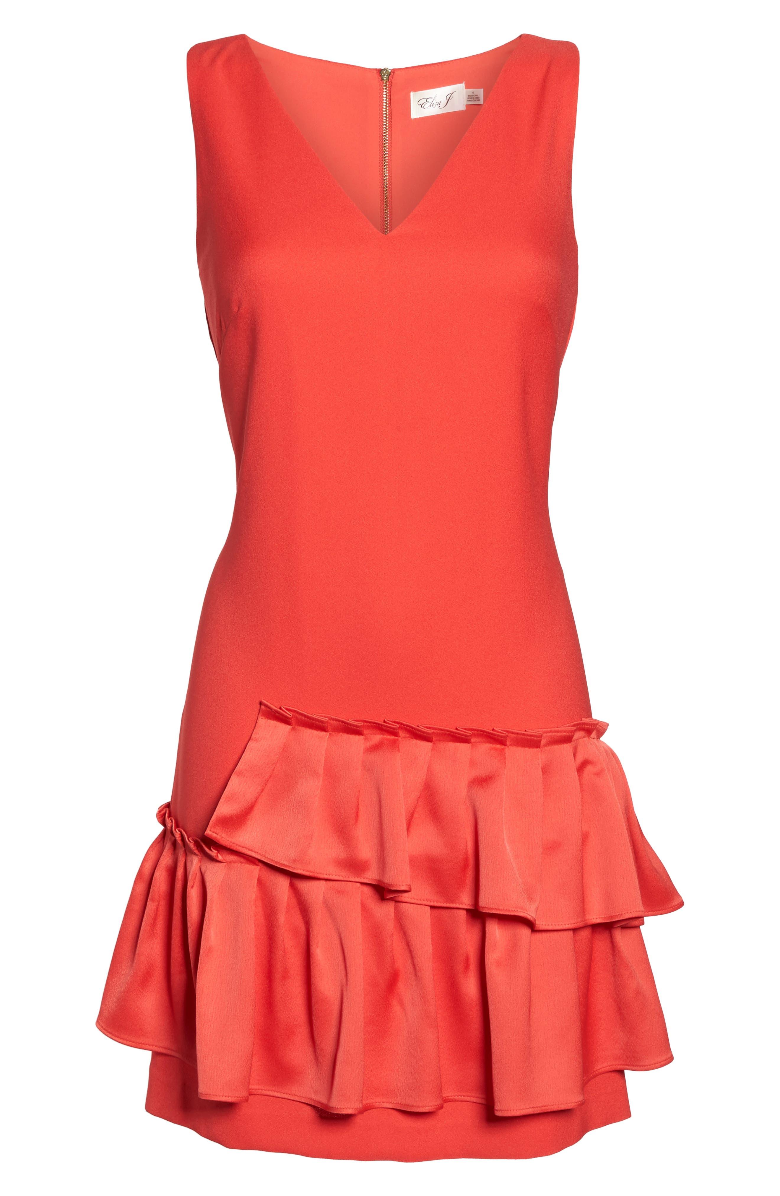 Ruffle Hem Sheath Dress,                             Alternate thumbnail 6, color,                             950
