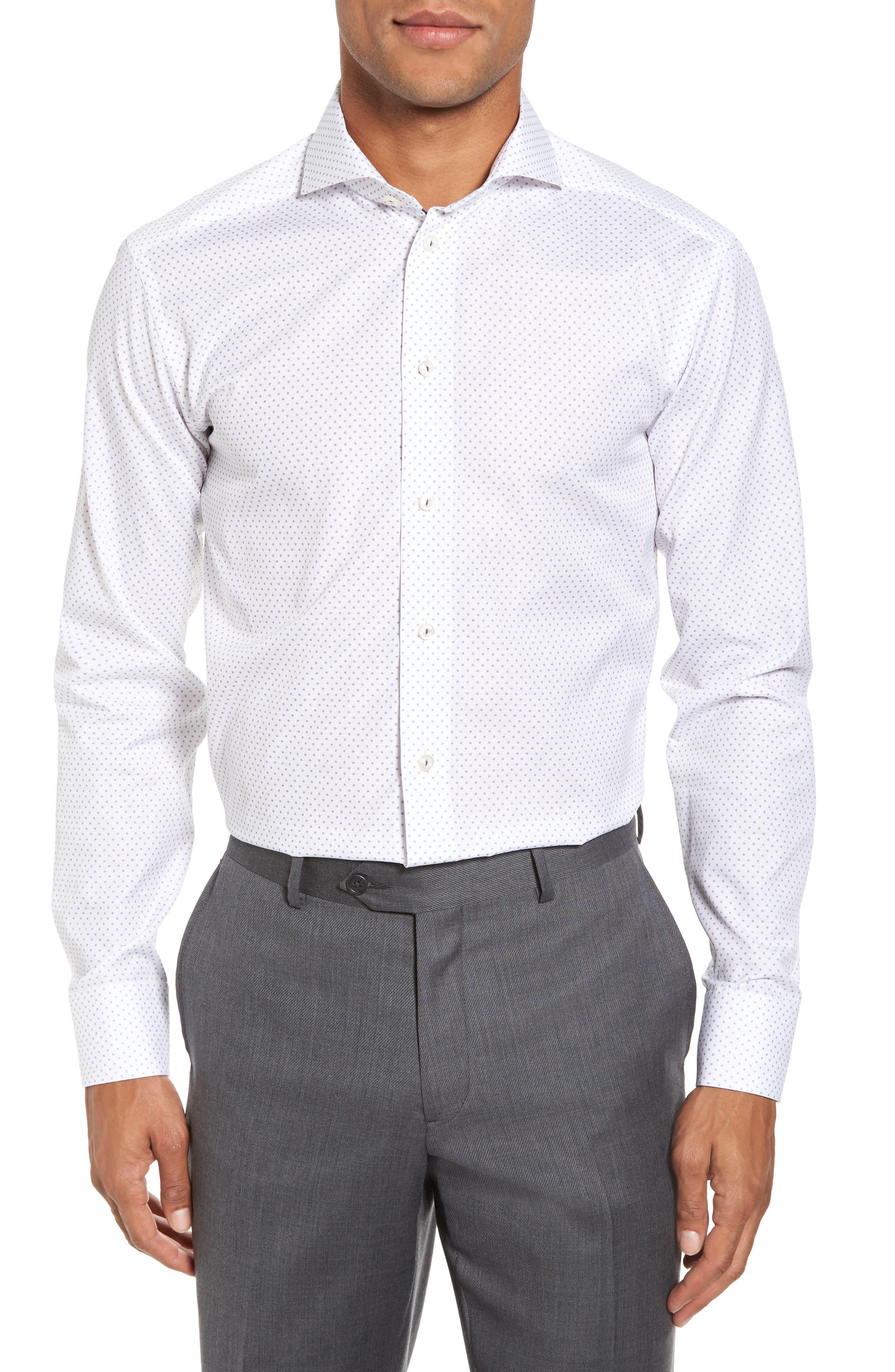 Slim Fit Dot Dress Shirt,                         Main,                         color, 100