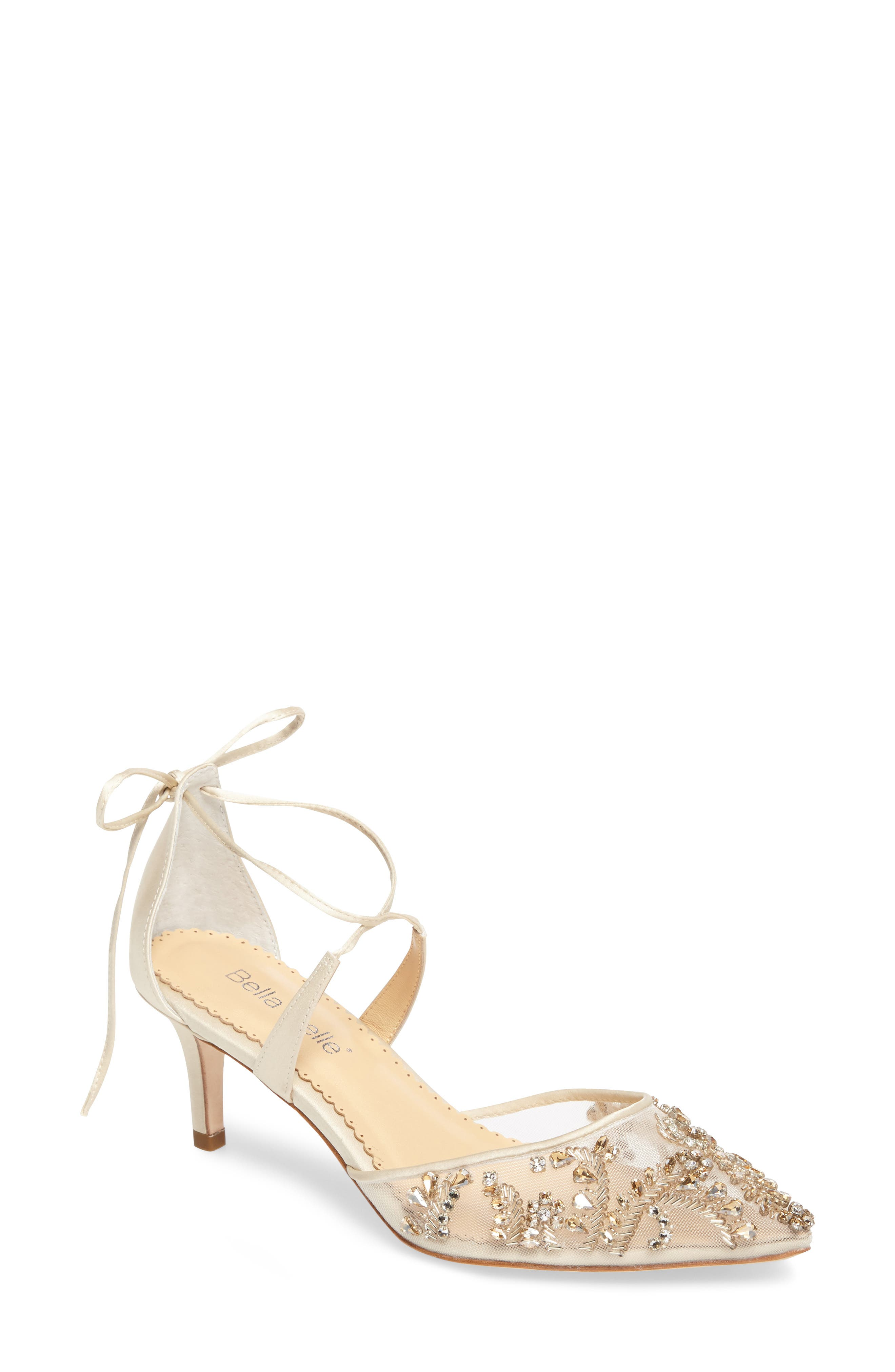 Frances Embellished Kitten Heel Pump,                             Main thumbnail 1, color,                             CHAMPAGNE SILK