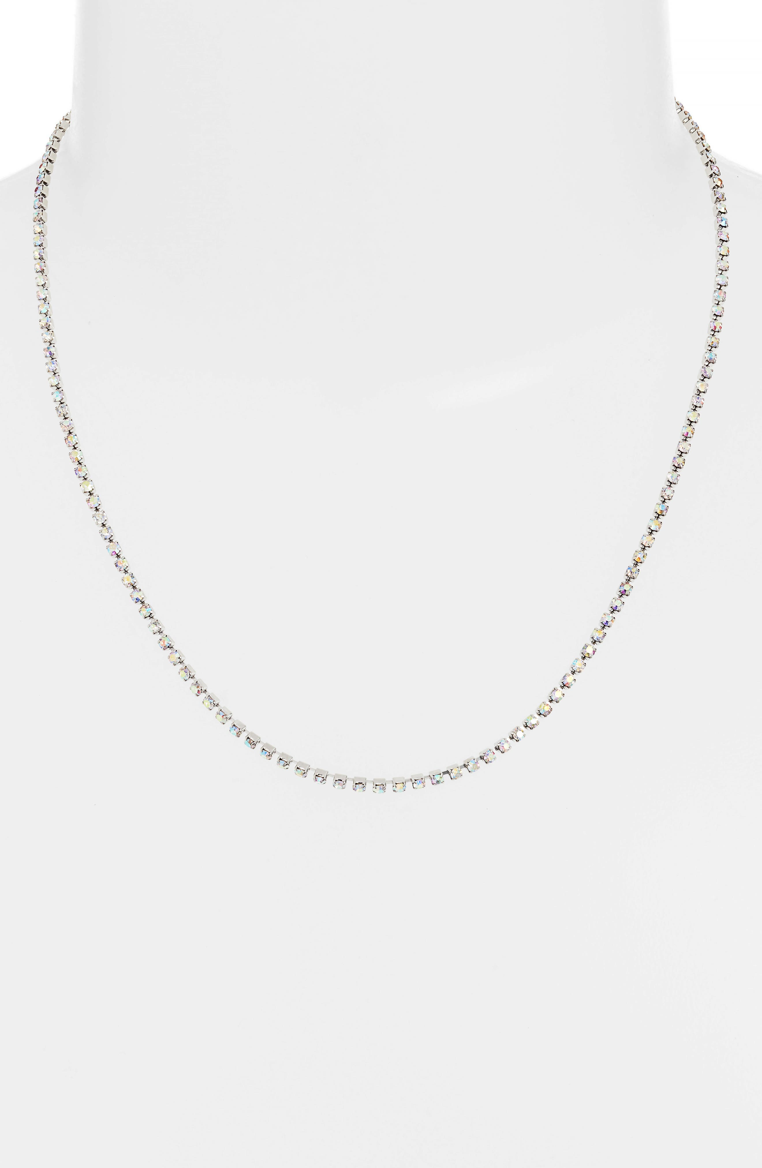SOMETHING NAVY,                             Rhinestone Necklace,                             Alternate thumbnail 2, color,                             CLEAR- RHODIUM