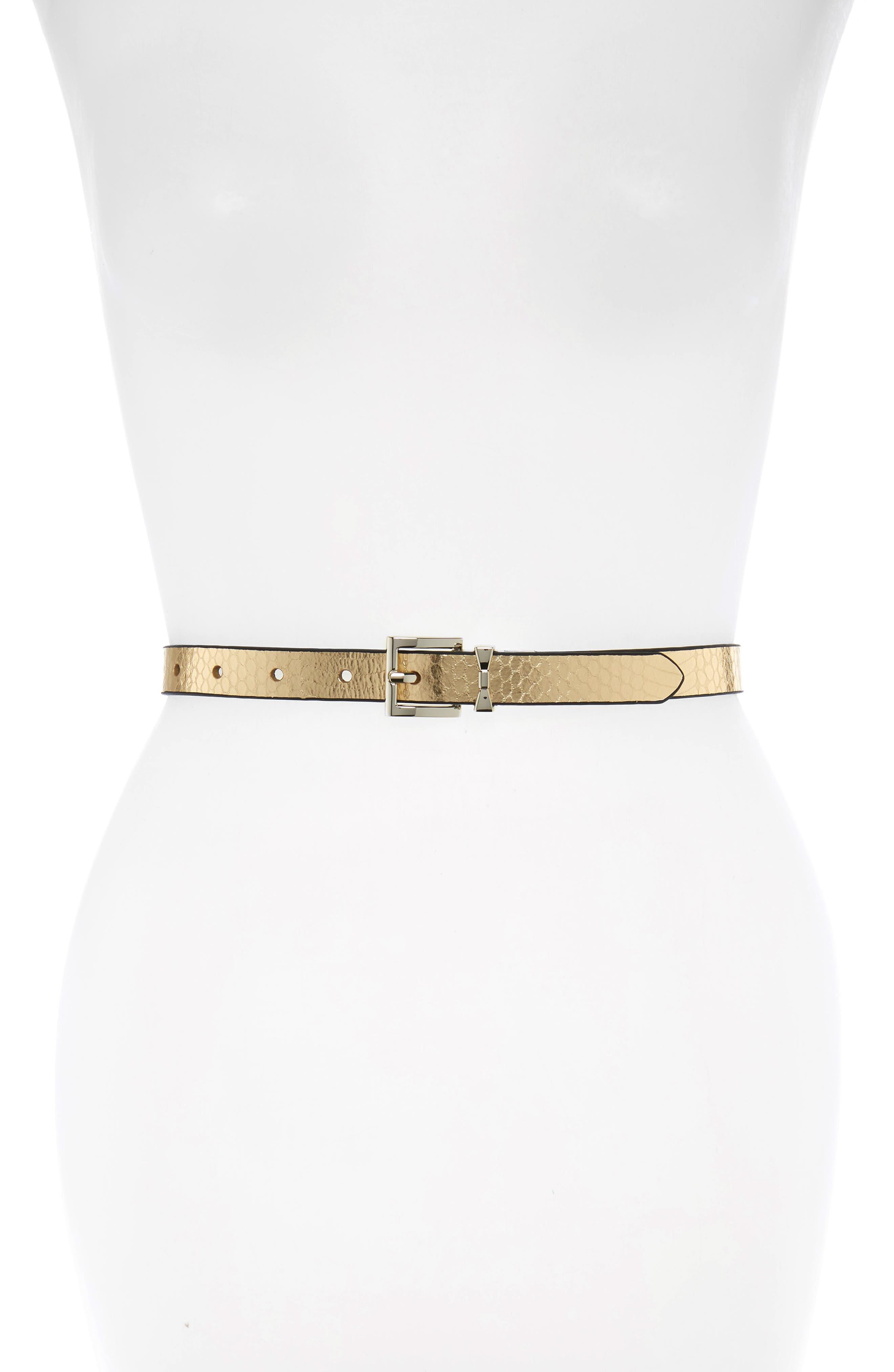 Kate Spade New York Metallic Snake Pattern Reversible Belt, Gold