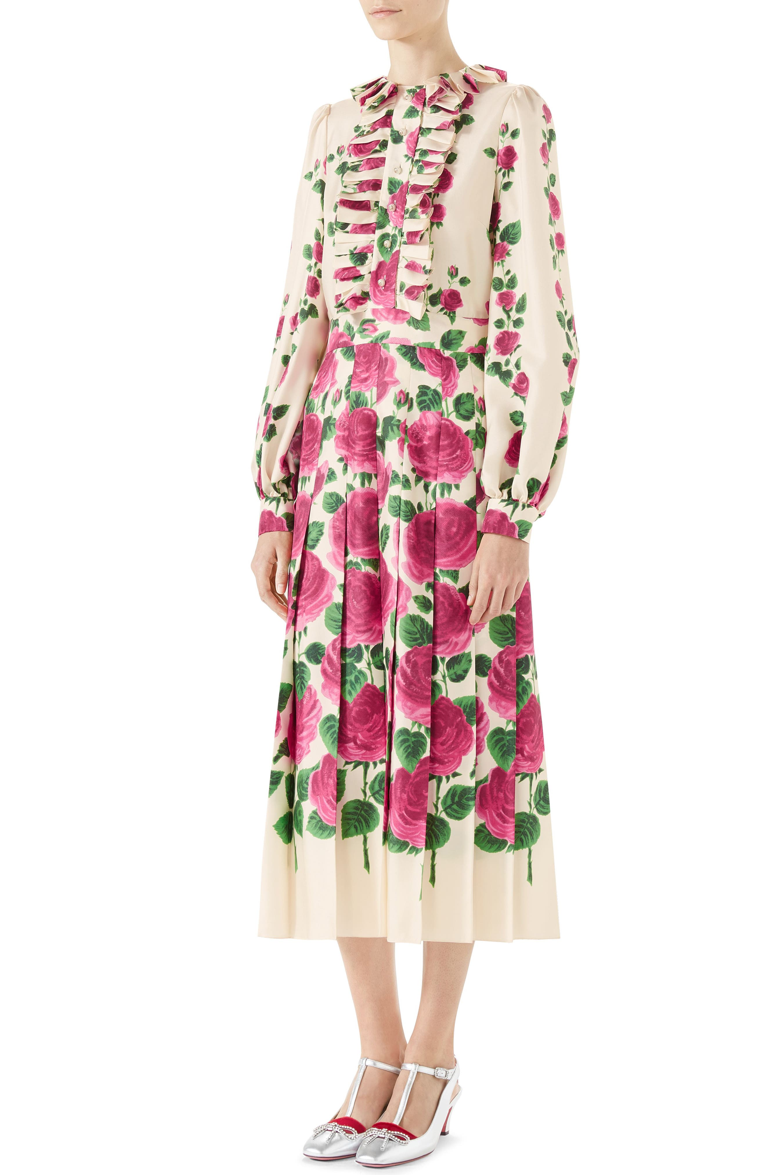 Pleated Rose Print Silk Midi Dress,                         Main,                         color, IVORY PINK