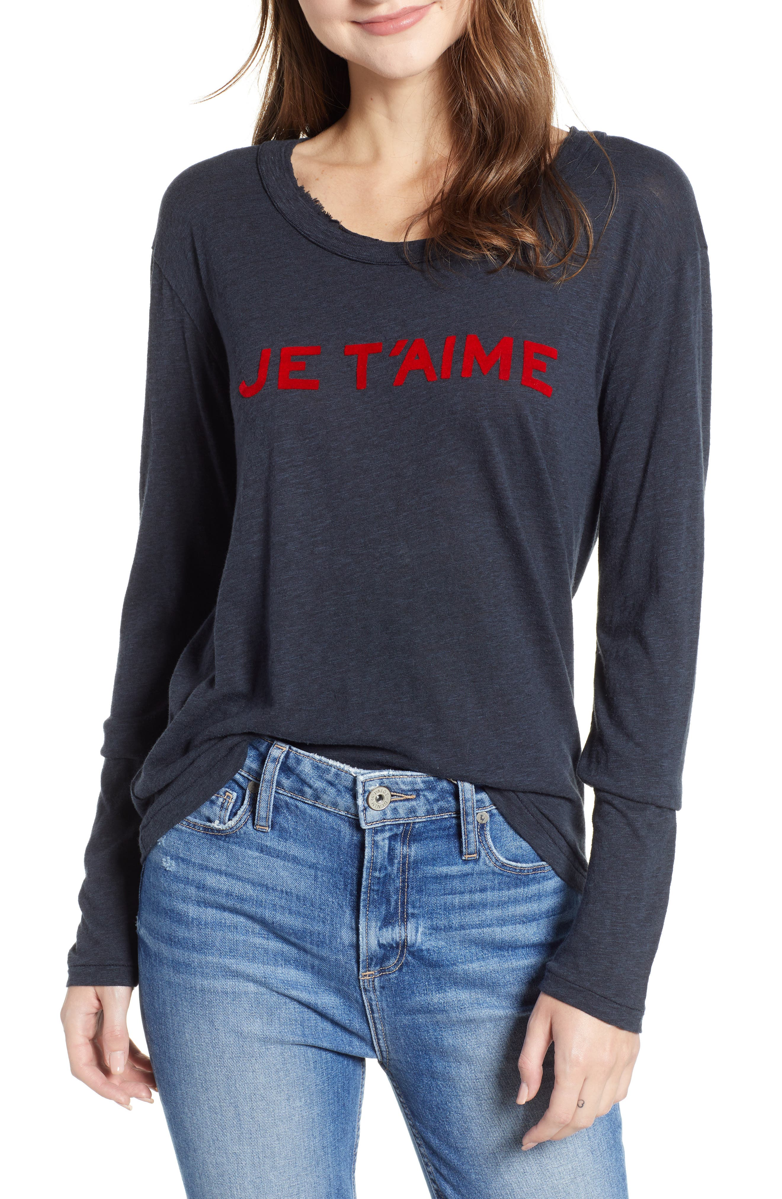 ZADIG & VOLTAIRE Willy Chine Scoop-Neck Long-Sleeve Tee in Marine