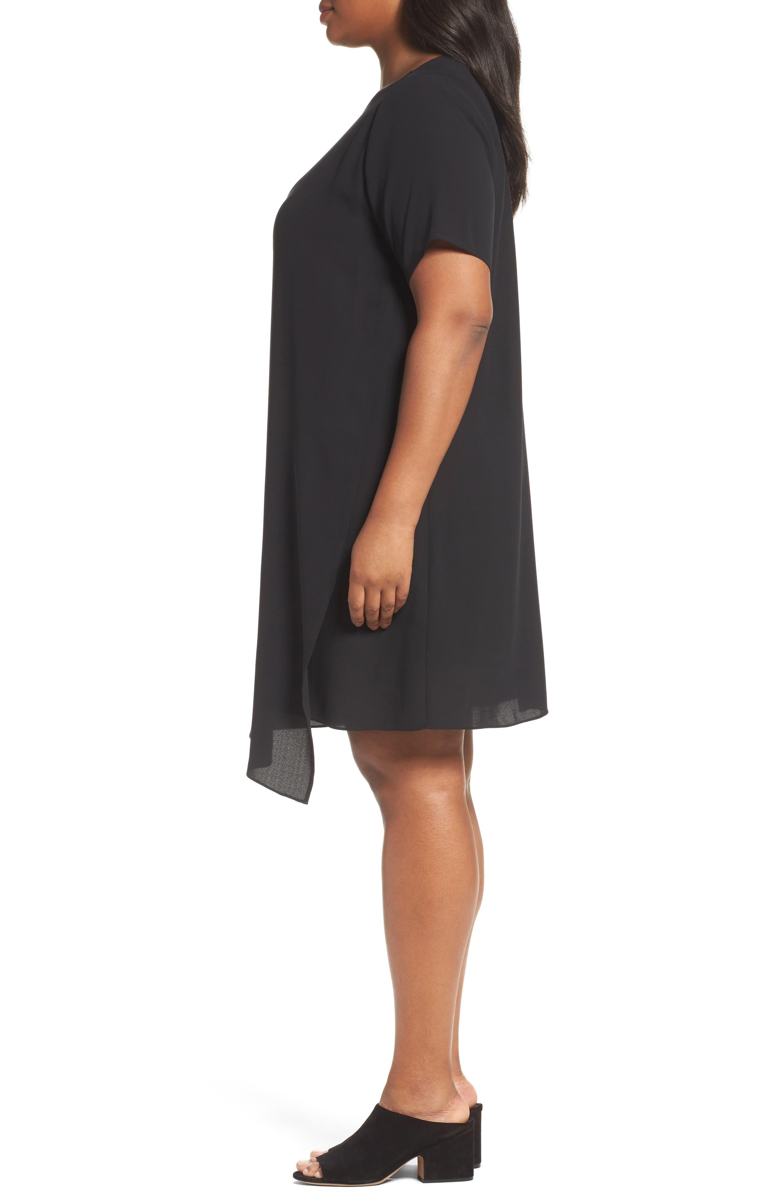 Asymmetrical Silk Shift Dress,                             Alternate thumbnail 3, color,                             001