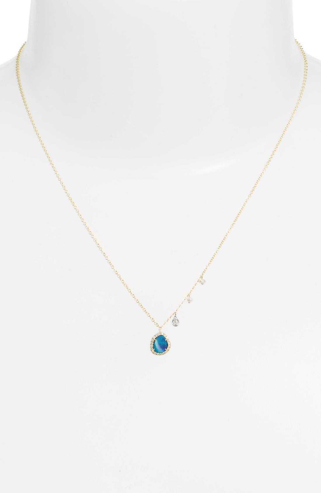 Mini Stone Diamond Pendant Necklace,                             Alternate thumbnail 3, color,                             YELLOW GOLD/ OPAL