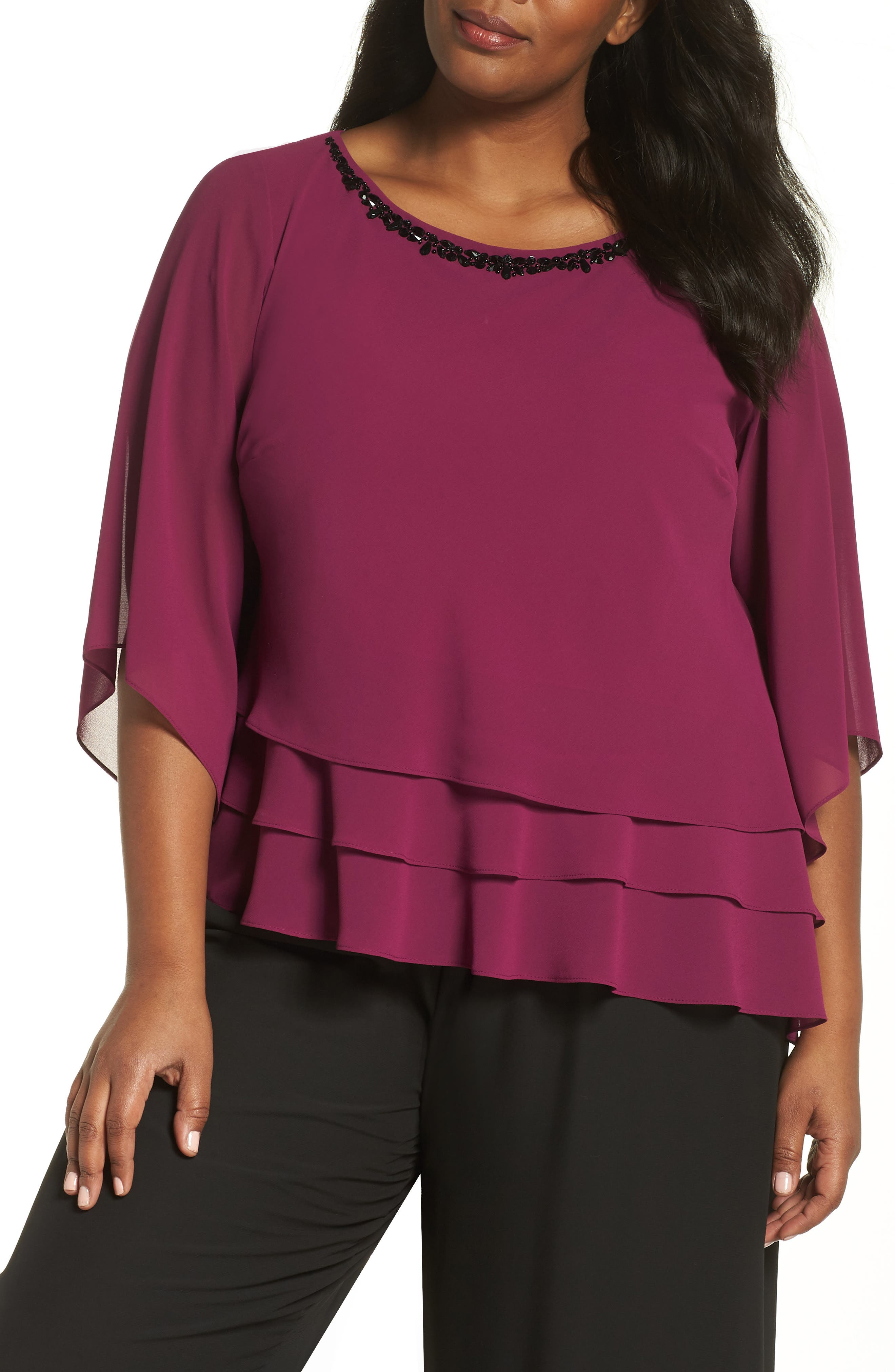 Embellished Tiered Chiffon Top,                             Main thumbnail 1, color,                             ALALEA