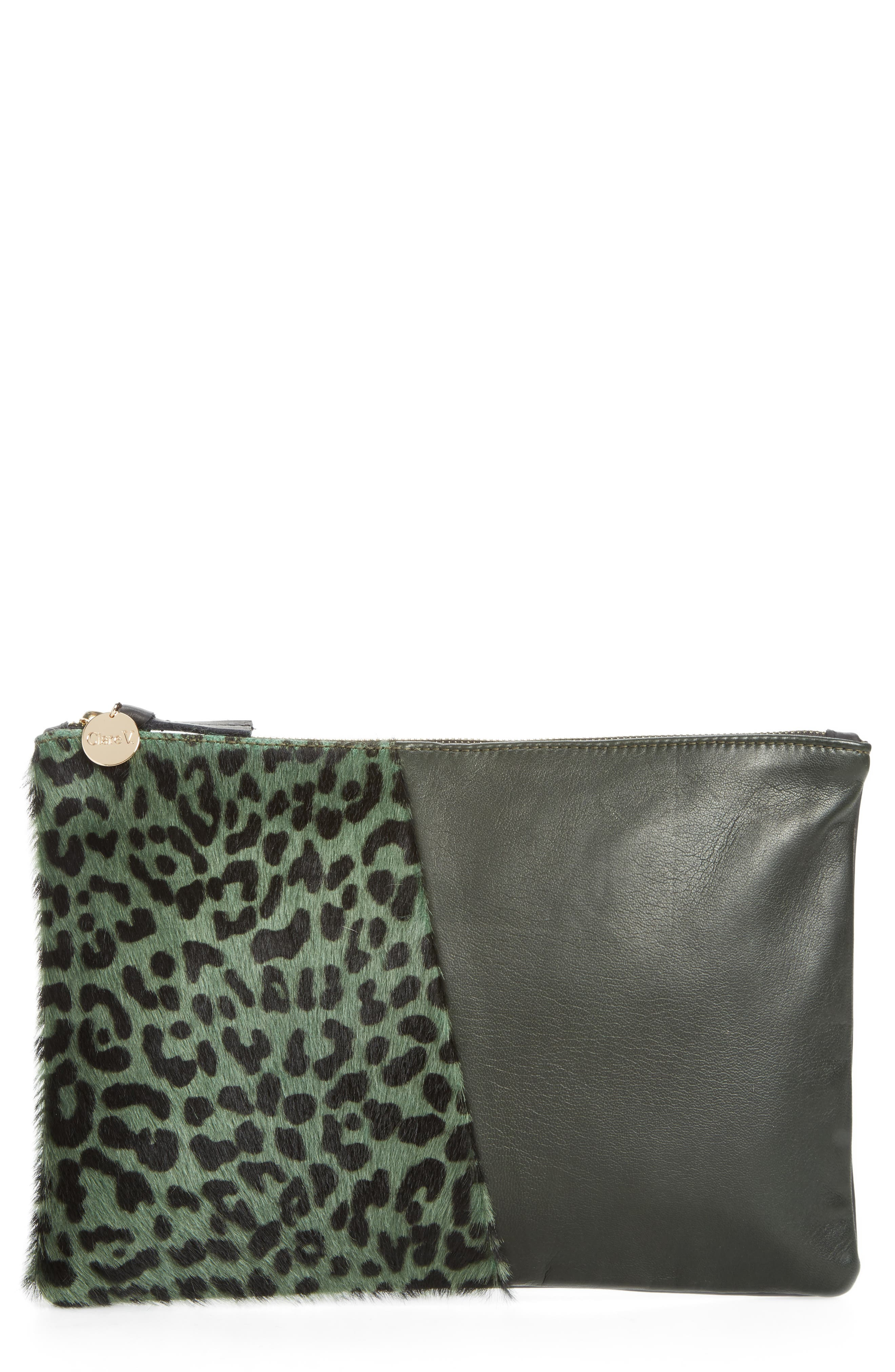 Colorblock Leather & Genuine Calf Hair Flat Clutch,                         Main,                         color,