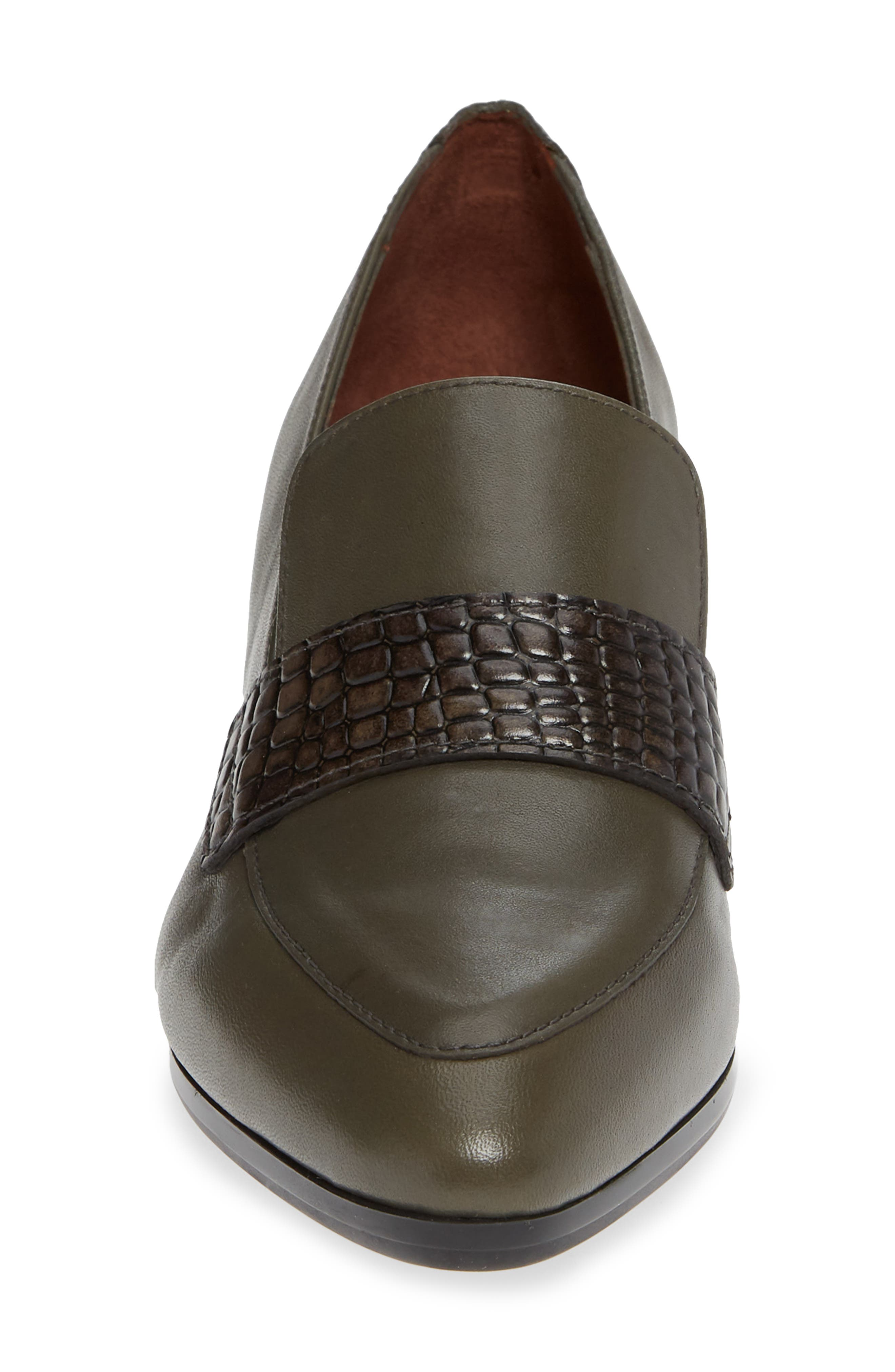 HISPANITAS,                             Gabrianna Block Heel Loafer,                             Alternate thumbnail 4, color,                             SOHO ARMY/ CAIMAN ARMY LEATHER